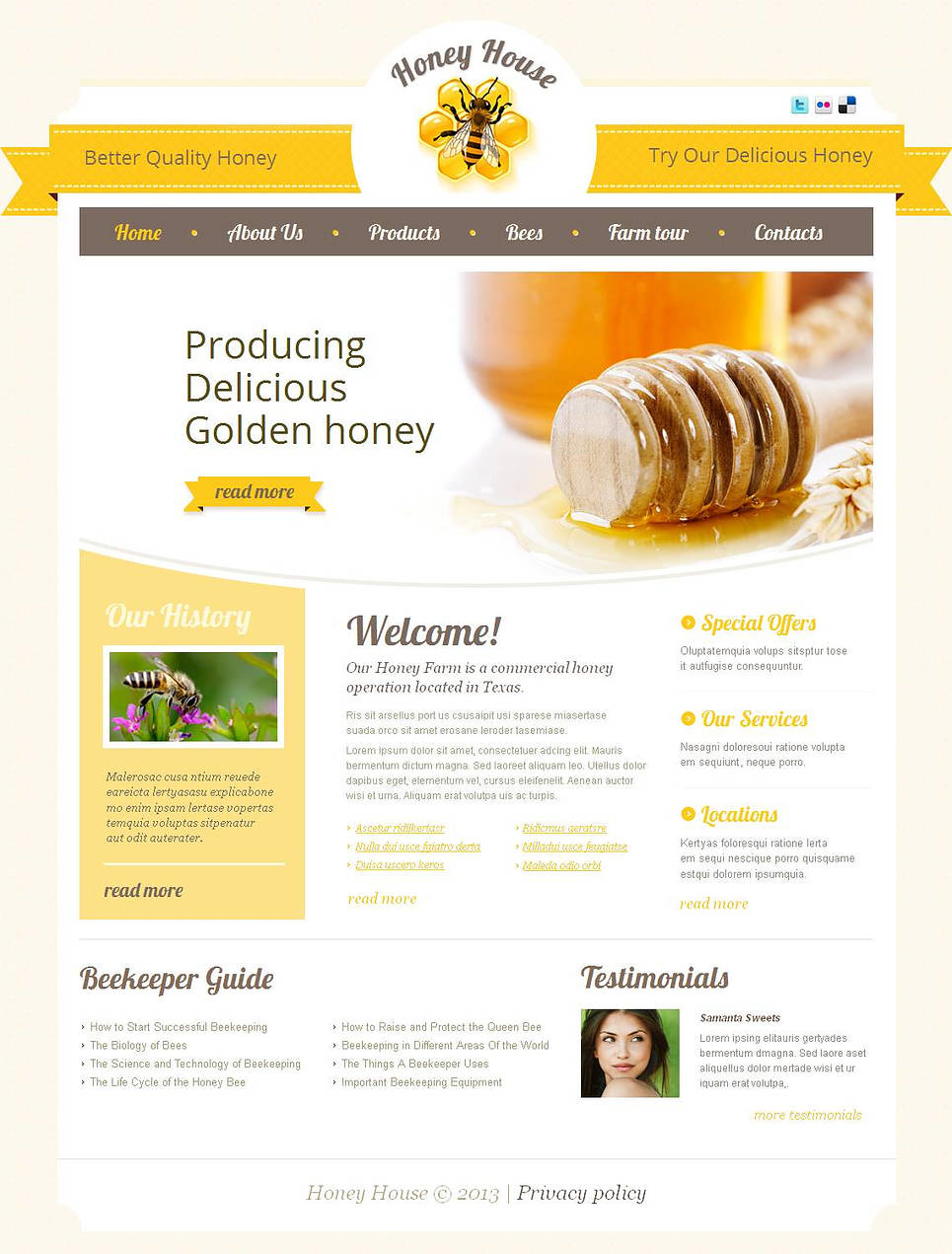 Beekeeping Website Template with Yellow Design - image
