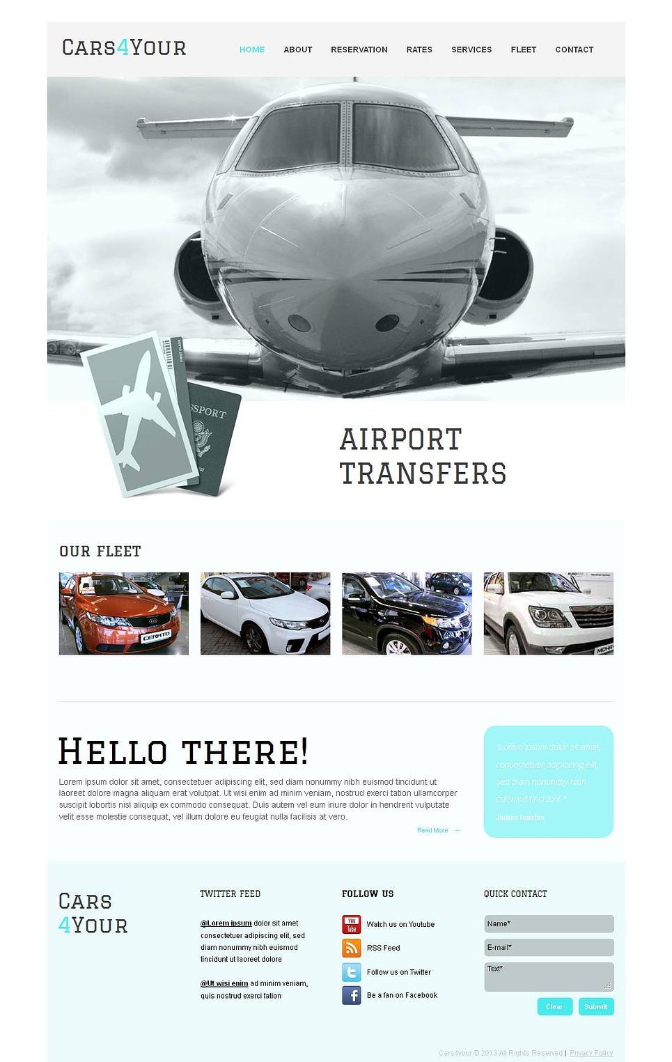 Car and Limo Services Website Template with Large Footer - image