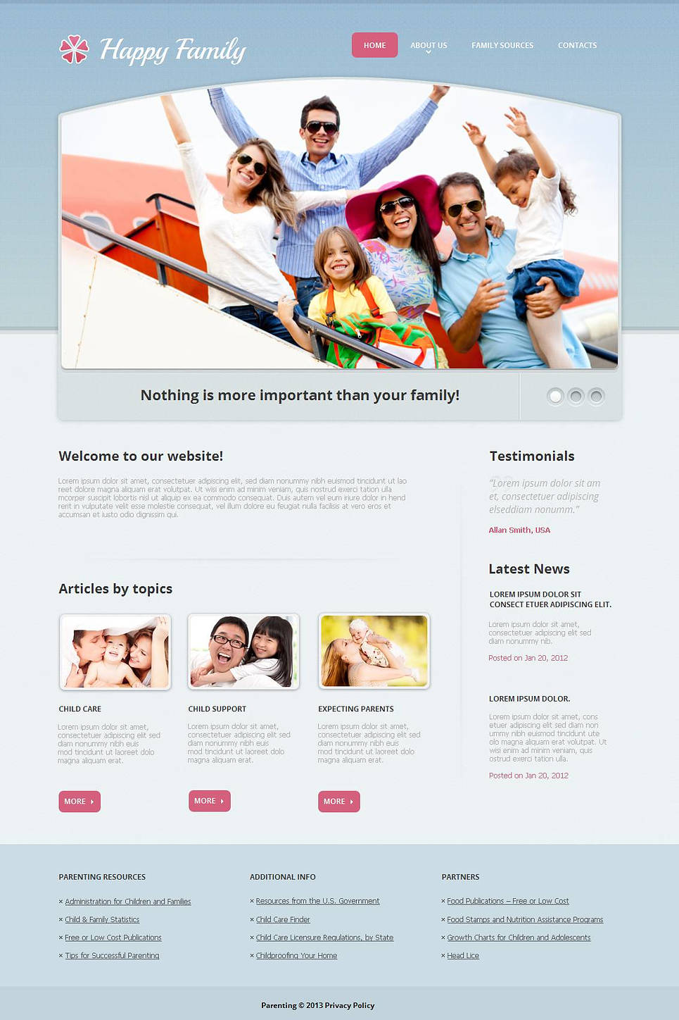 Perfect Family Center Website Template with a Content Slider - image