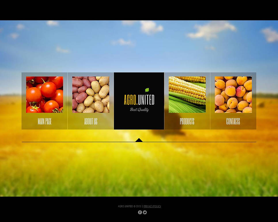Agriculture Web Template with Illustrated Navigation Menu - image