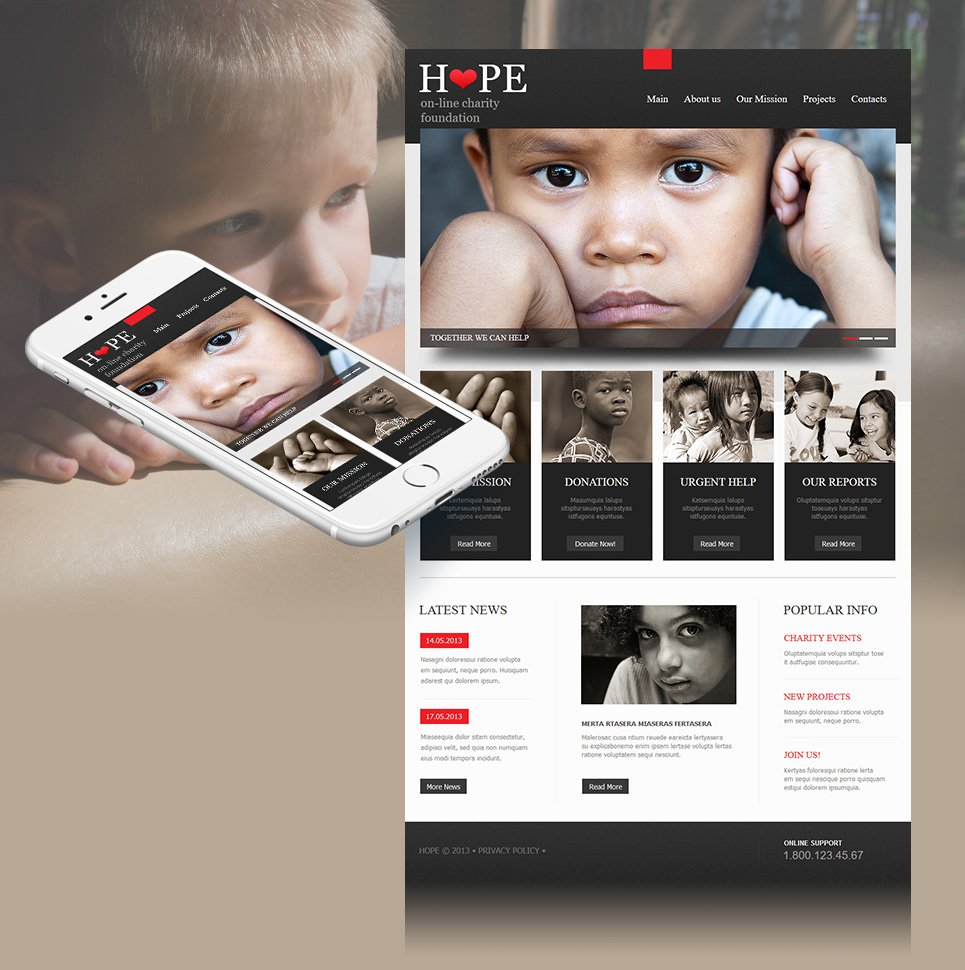 Charity Website Template with Black-and-White Design - image