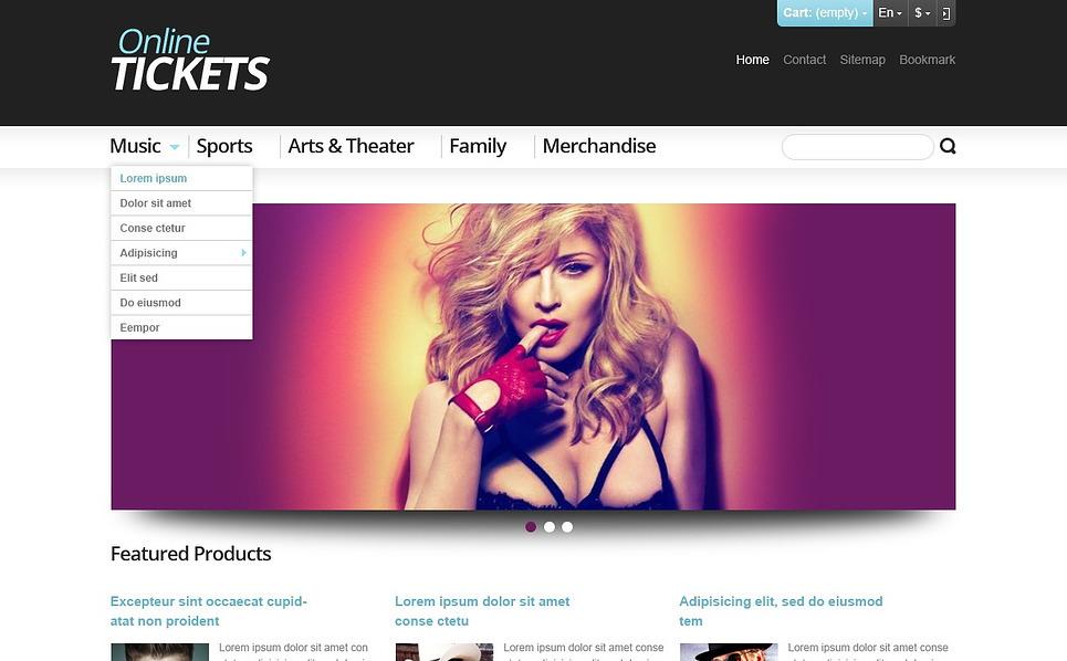 Reszponzív Jegyek weboldal  PrestaShop sablon New Screenshots BIG