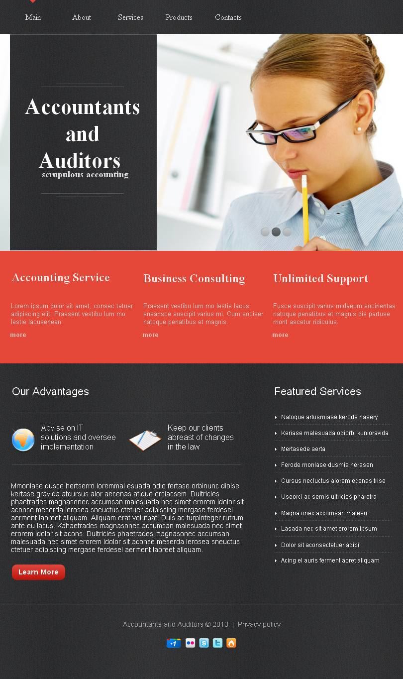 Accounting Website Facebook HTML CMS Template #44252