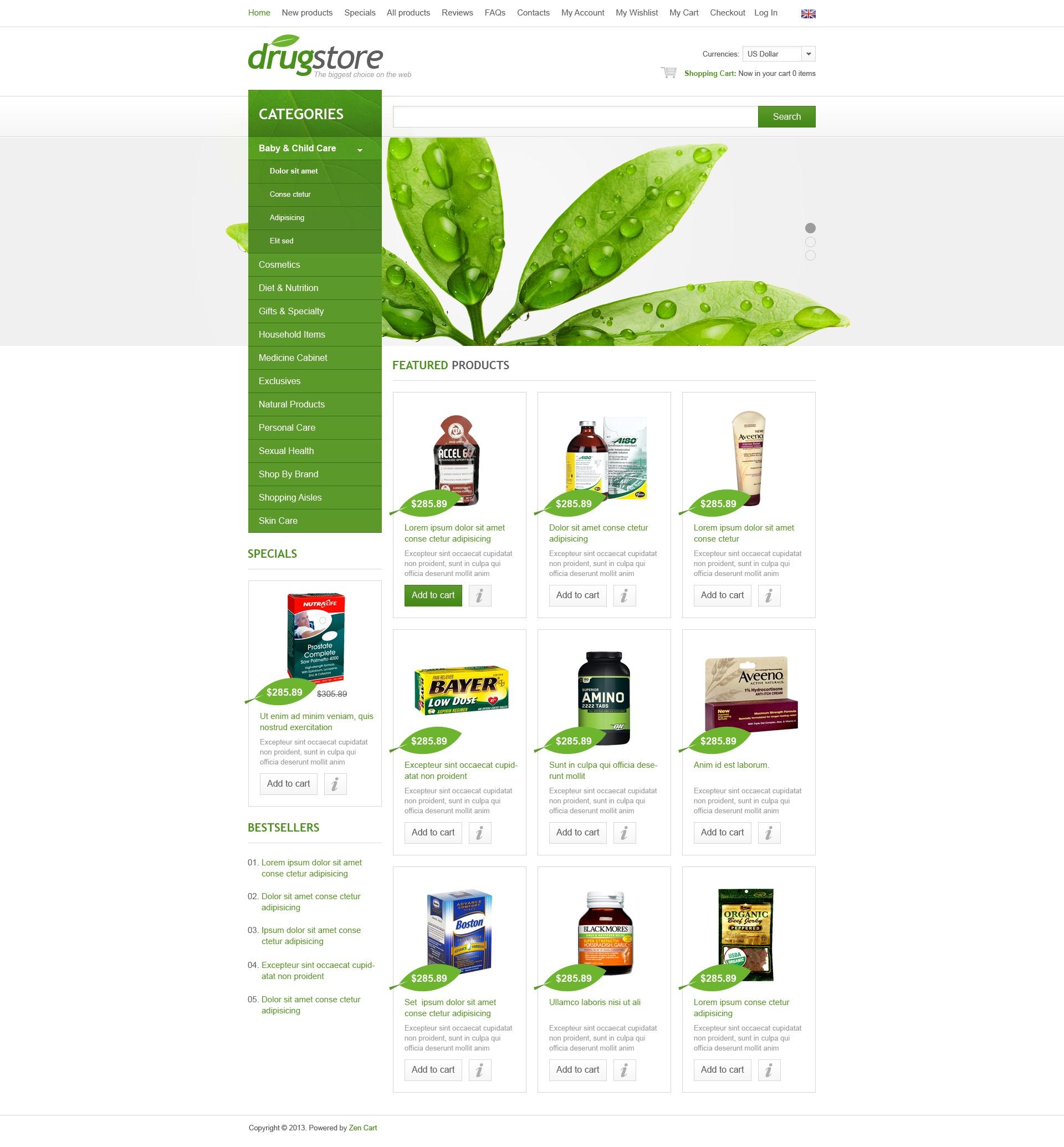 Drugstore ZenCart sablon 44262