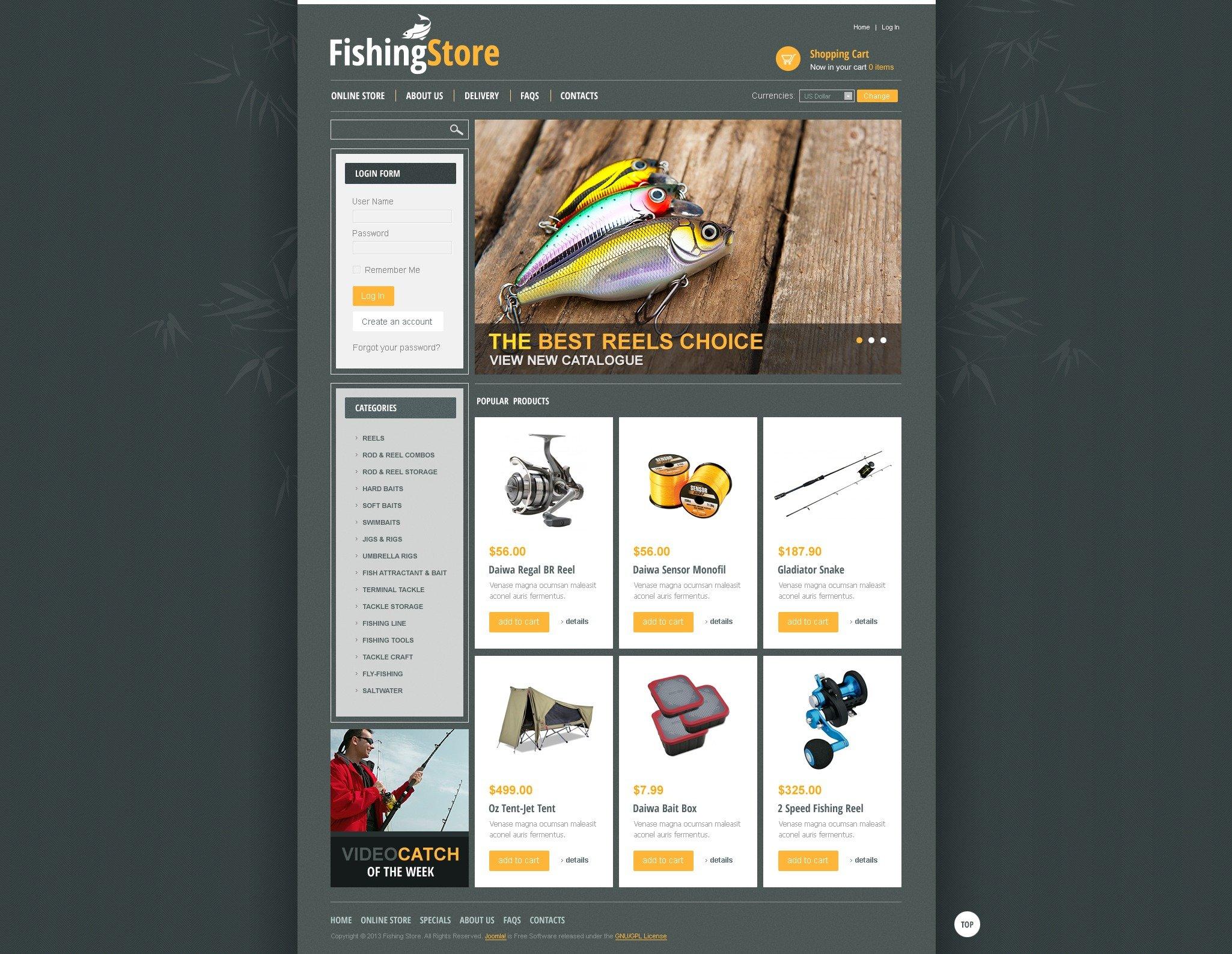 Fishing Store Template VirtueMart №44265