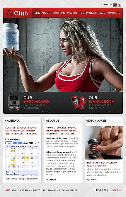Fitness Facebook HTML CMS Template Facebook Screenshot