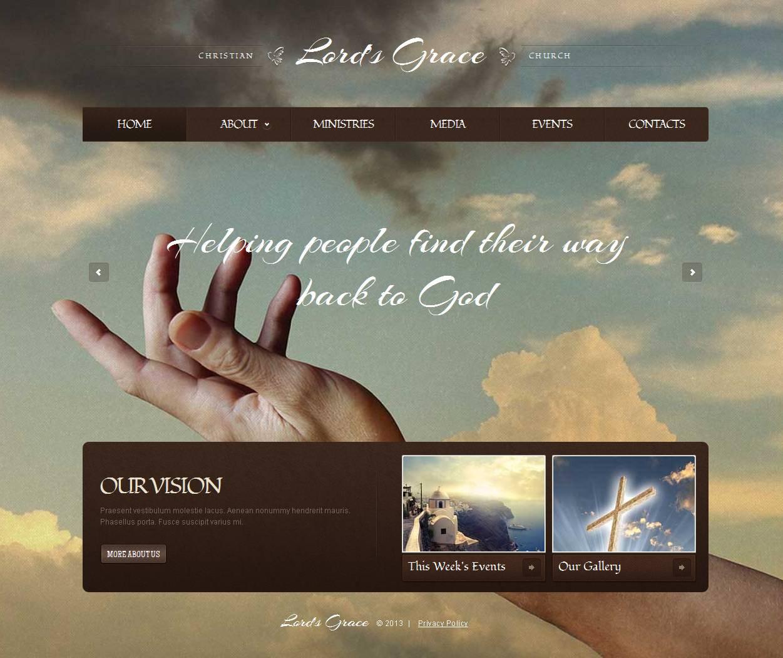 Modèle Moto CMS HTML Premium pour site chrétien #44217