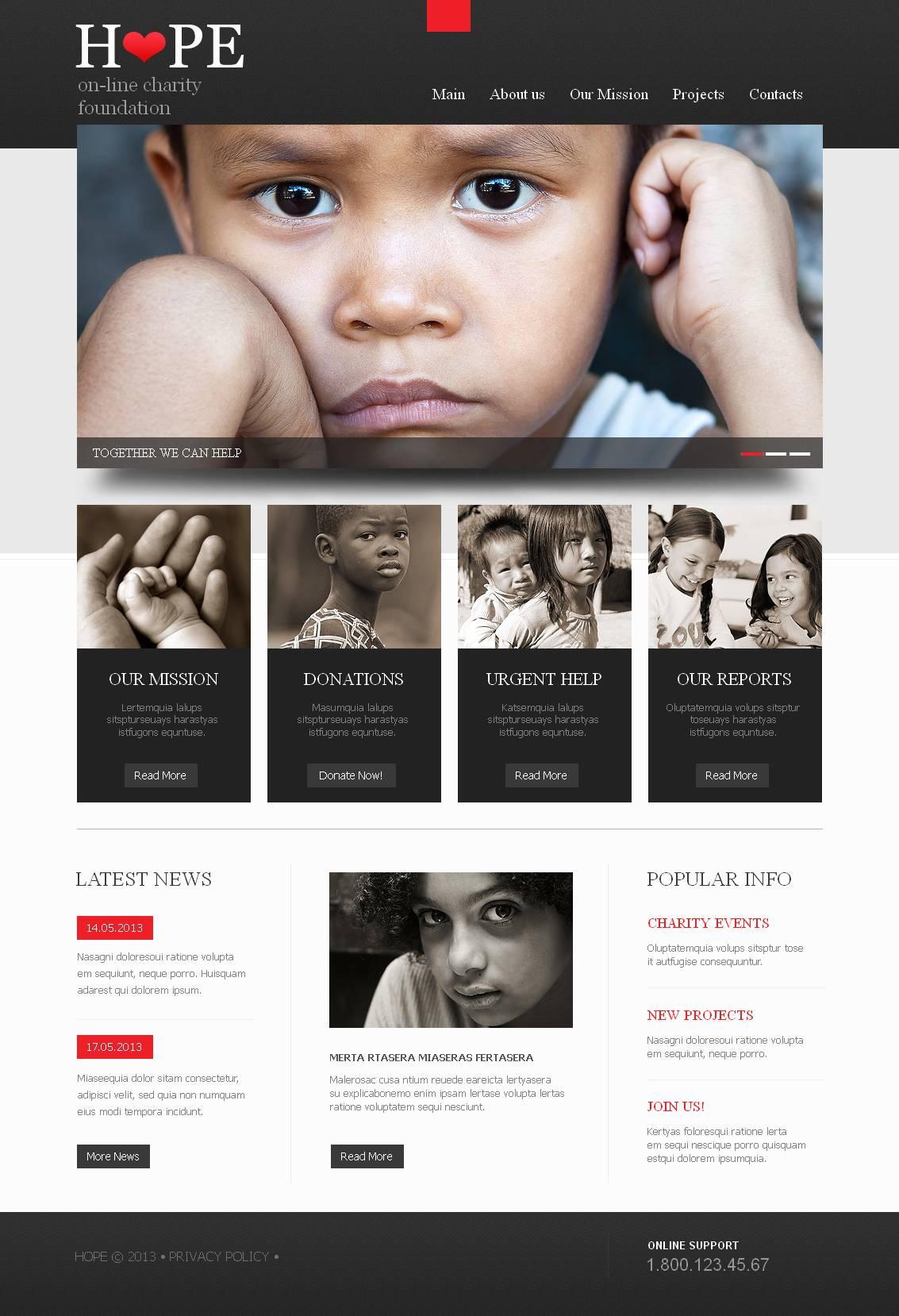 Modèle Moto CMS HTML Premium pour site d'association caritative #44229