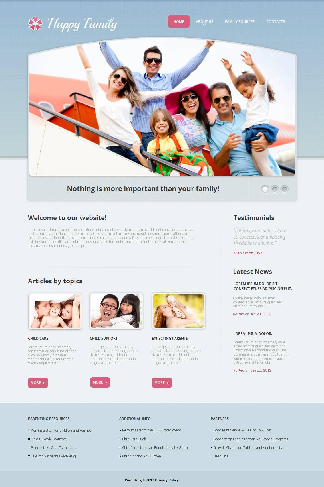 Modèle Moto CMS HTML Premium pour site de Centre familial #44222
