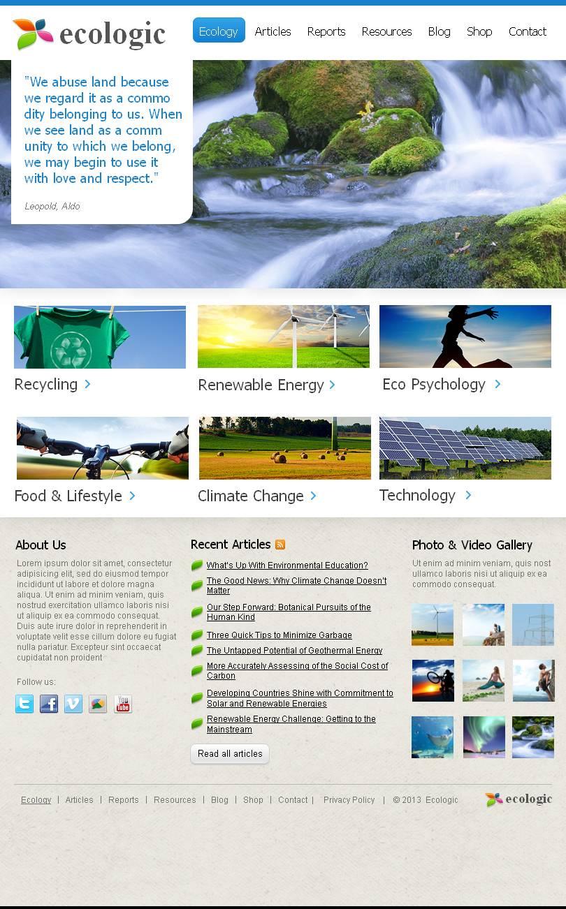 Prémium Környezet témakörű Facebook HTML CMS sablon 44254 - képernyőkép