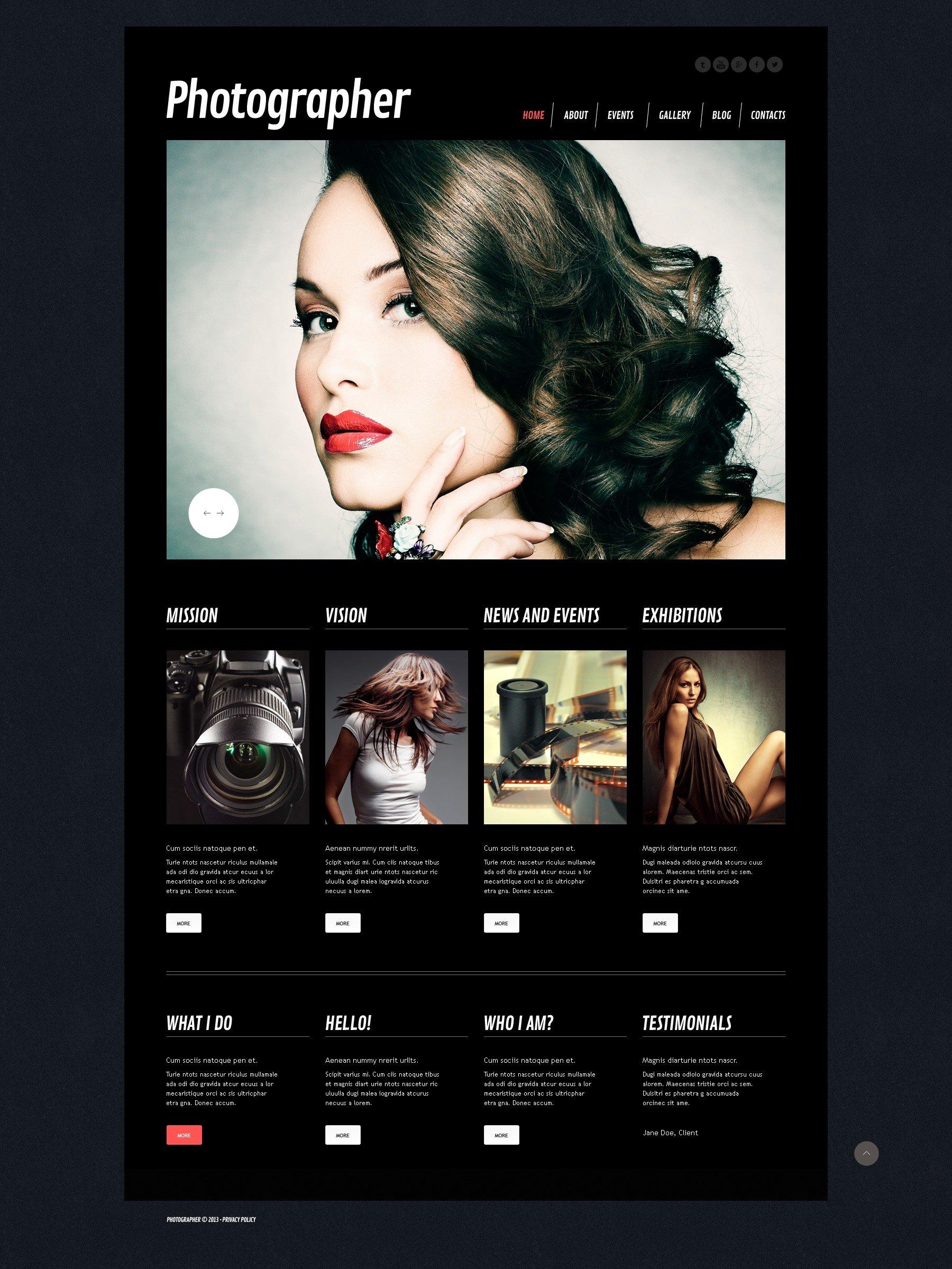 Tema De WordPress Responsive para Sitio de Portafolios de fotógrafos #44287 - captura de pantalla