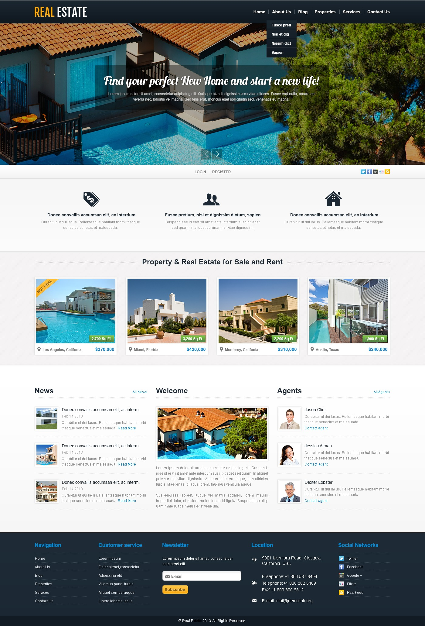 White Real Estate WordPress Theme - screenshot