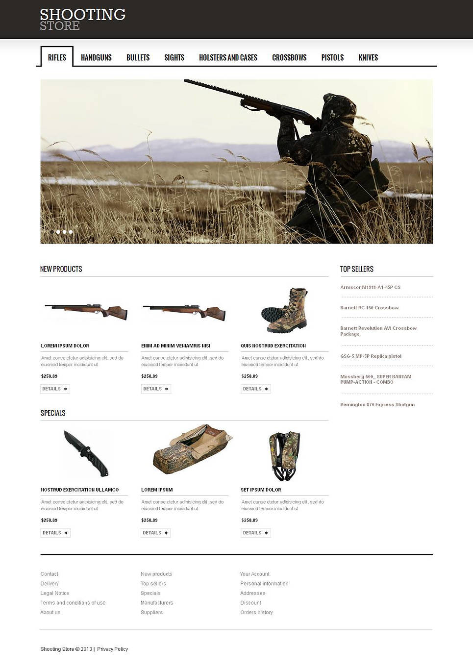 Black and White Web Template for Shooting Equipment Manufacturers - image