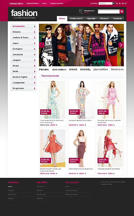osCommerce Template 44387 Main Page Screenshot