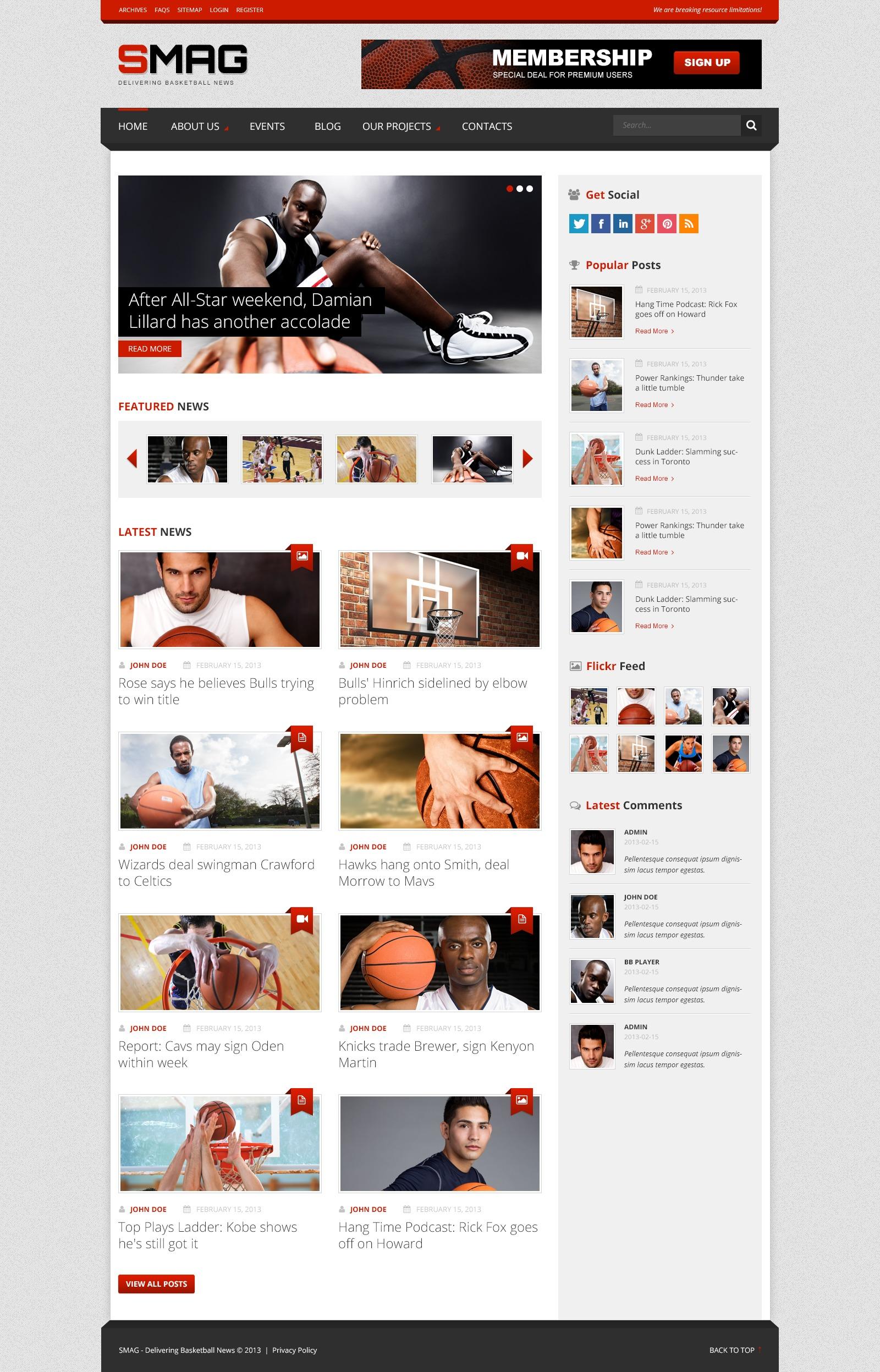 Basketball Blog WordPress Theme #44325