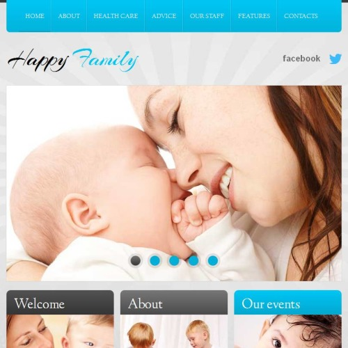 Happy Family - Facebook HTML CMS Template