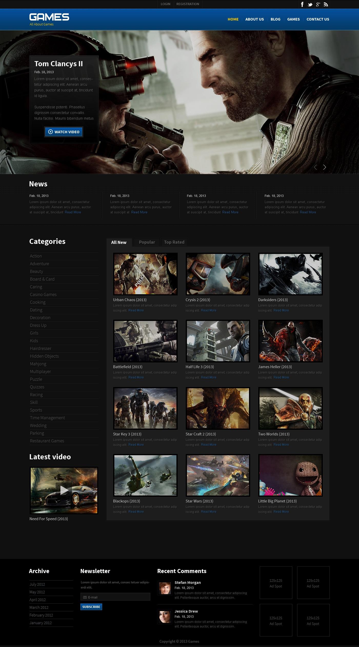 Games Responsive Website Template - screenshot