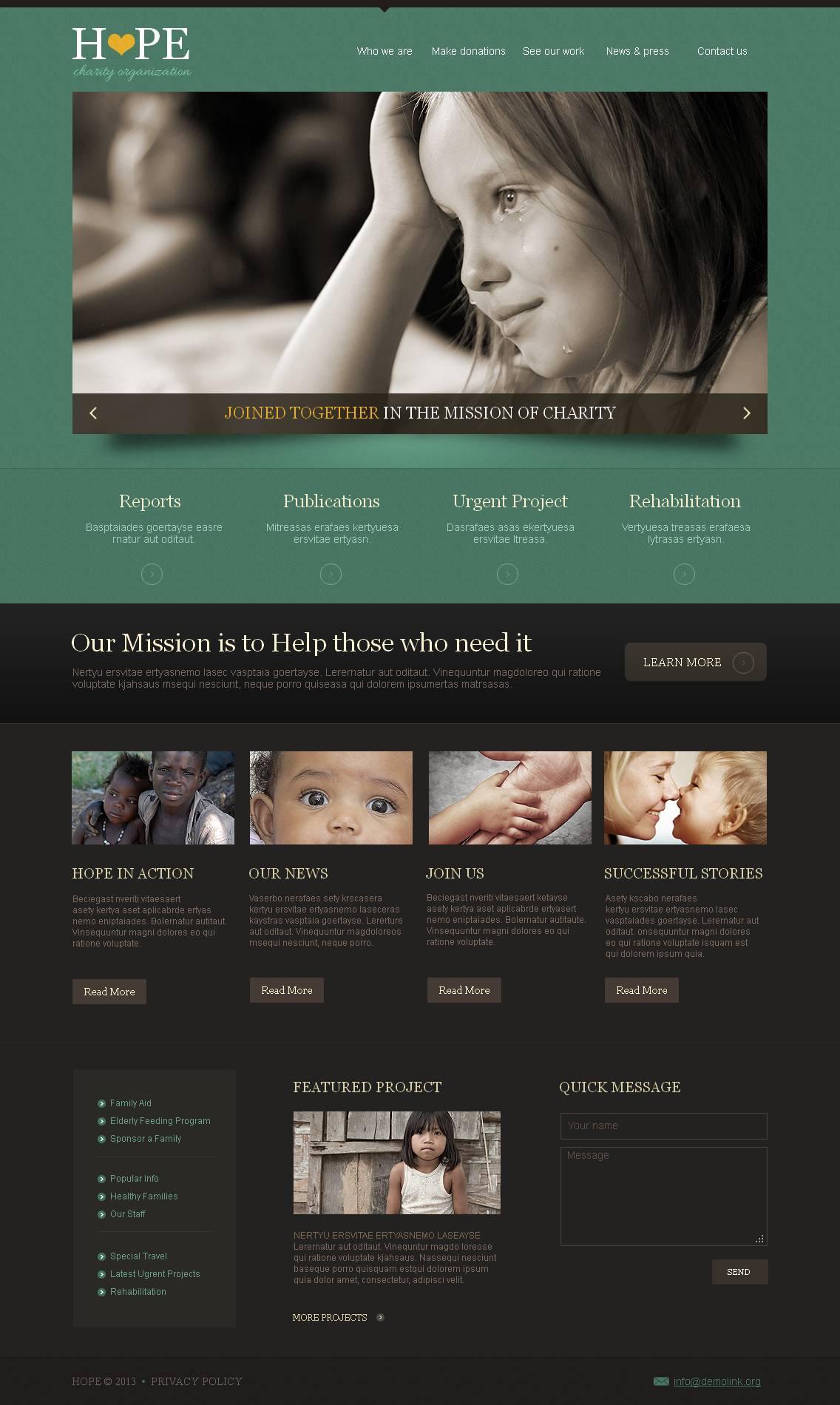 Modèle Moto CMS HTML Premium pour site d'association caritative #44345