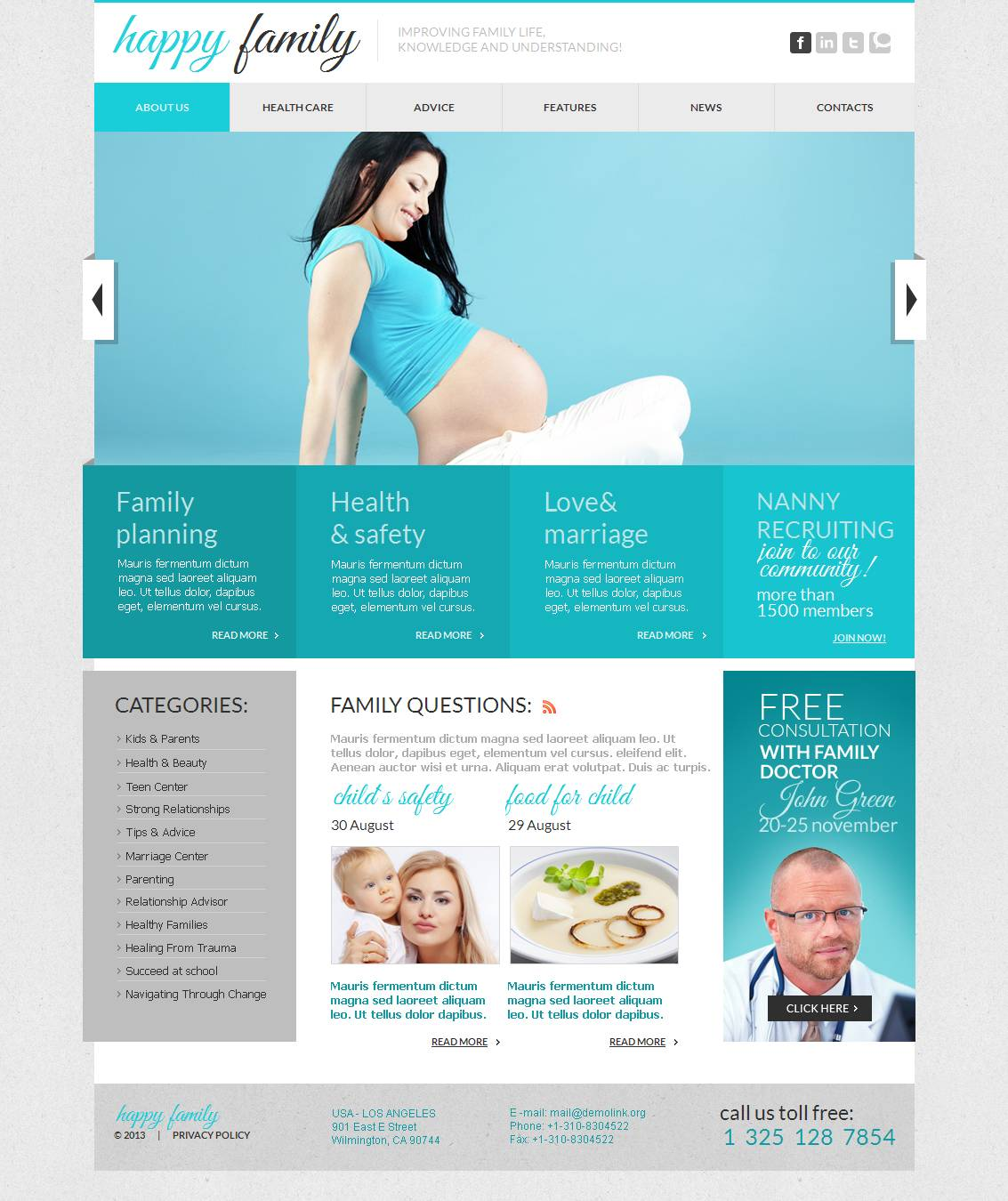 Modèle Moto CMS HTML Premium pour site de Centre familial #44339