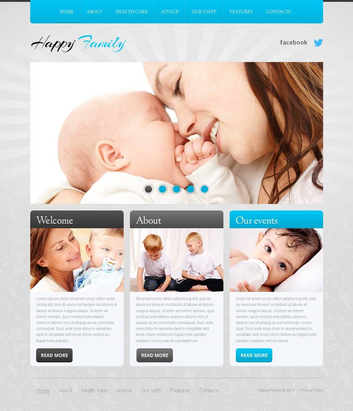 Modèle Moto CMS HTML Premium pour site de Centre familial #44343
