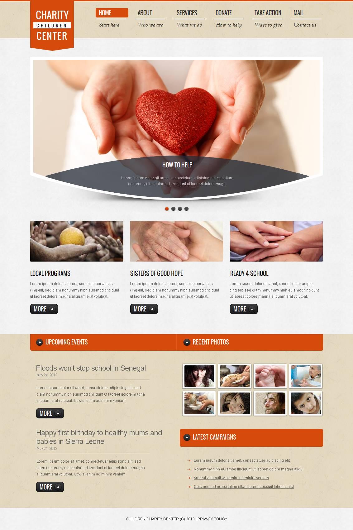 Modèle Moto CMS HTML Premium pour site de charité pour enfants #44341