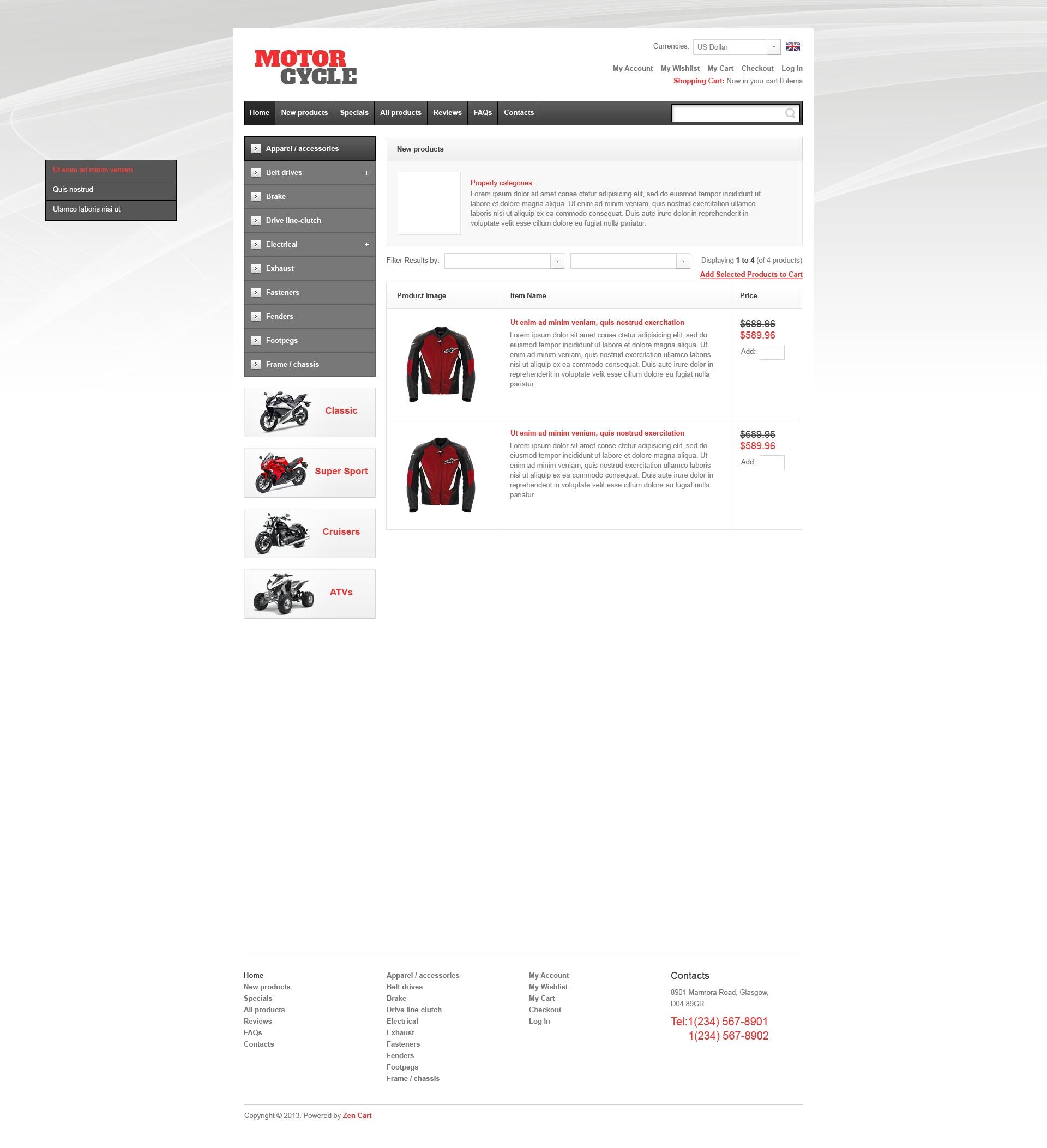 Motorcycle Parts ZenCart Template - screenshot