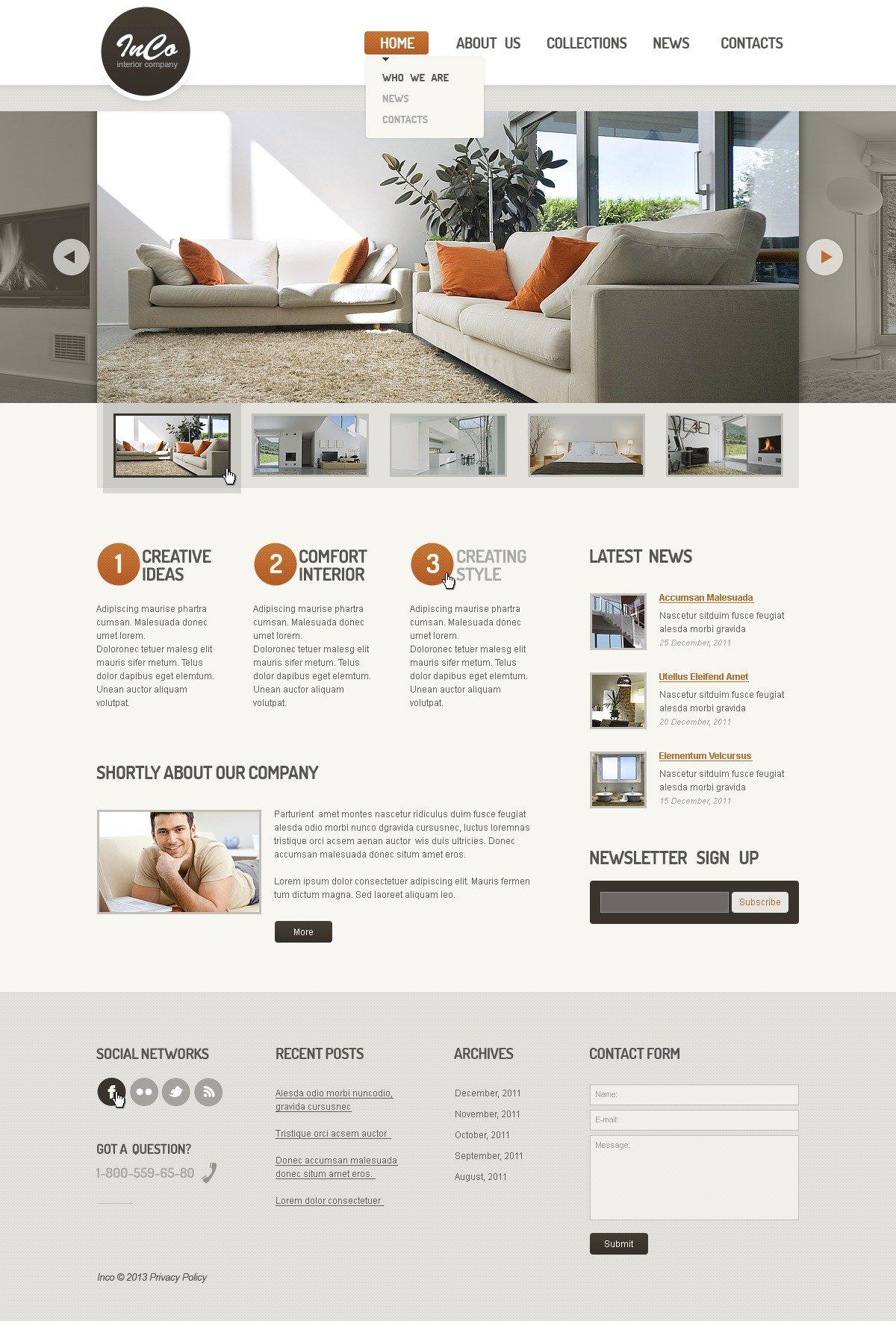 Plantilla Web 44378 Para Sitio De Interior Y Muebles # Muebles Pagina Web