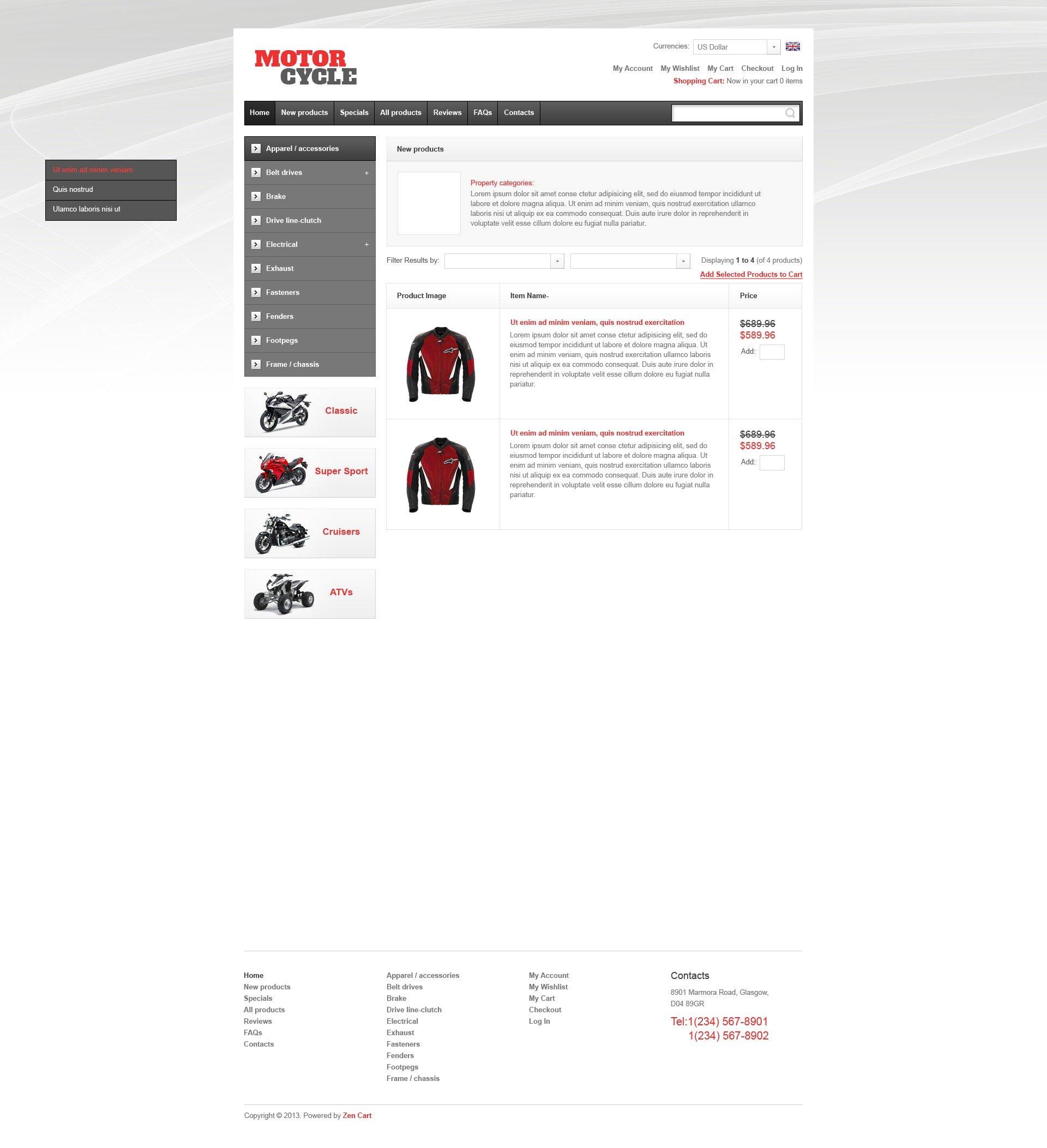 "Plantilla ZenCart ""Motorcycle Parts"" #44334 - captura de pantalla"