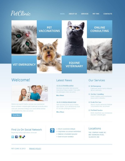 Template Moto CMS HTML №44348 para Sites de Veterinária