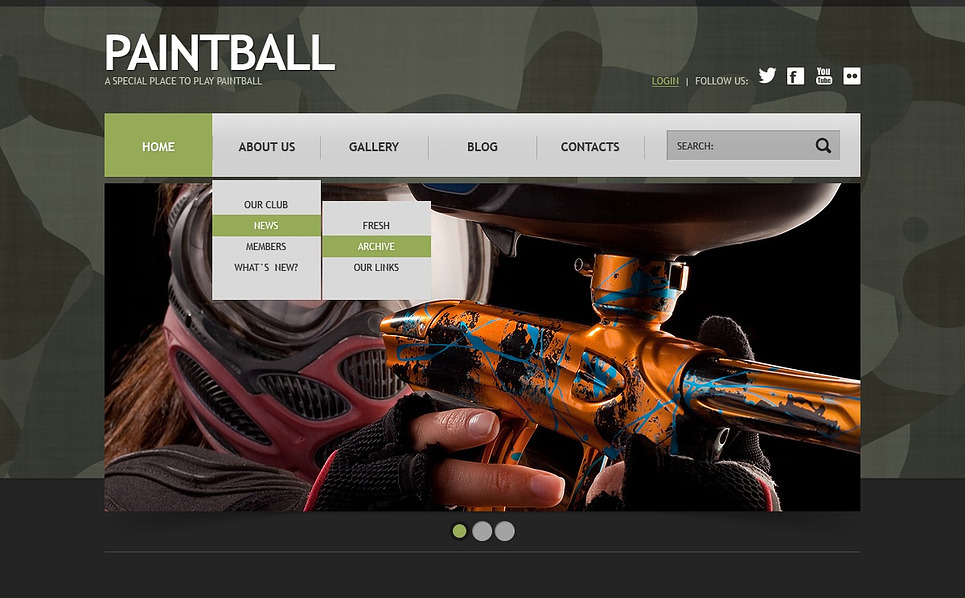 Responzivní Joomla šablona na téma Paintball New Screenshots BIG