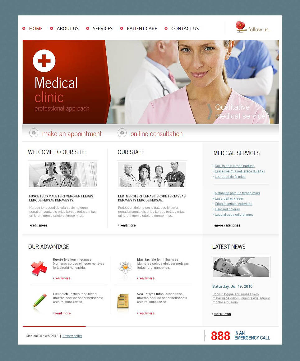 Med Clinic Website Template with Fixed jQuery Slider - image