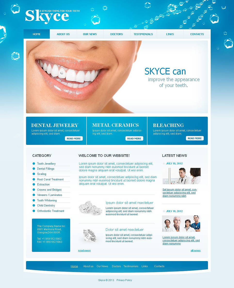 Dental Care Website Template with Shining Design - image