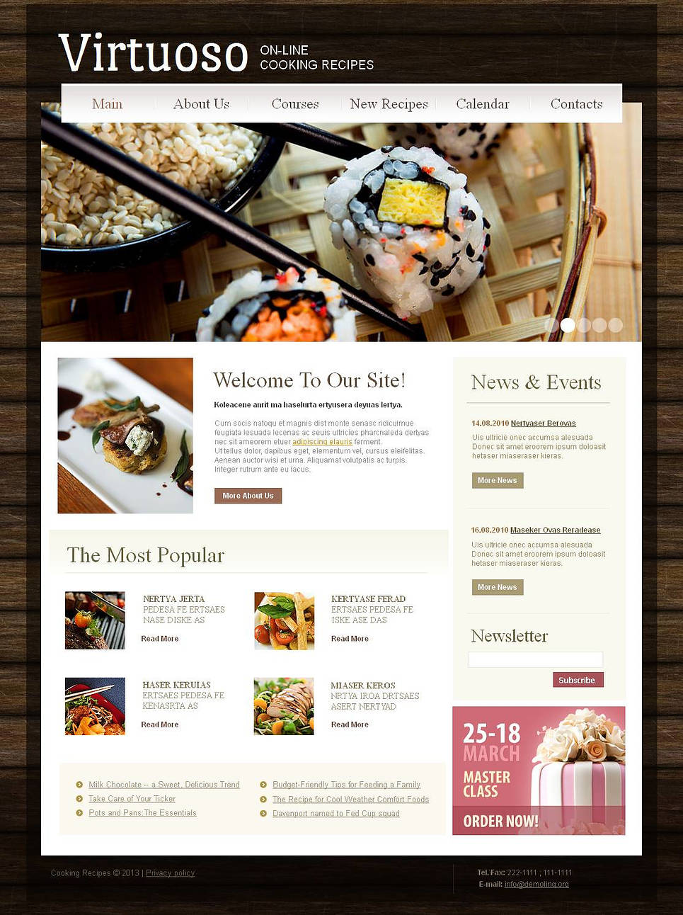 Recipes Website Template with Wood Textured Background - image