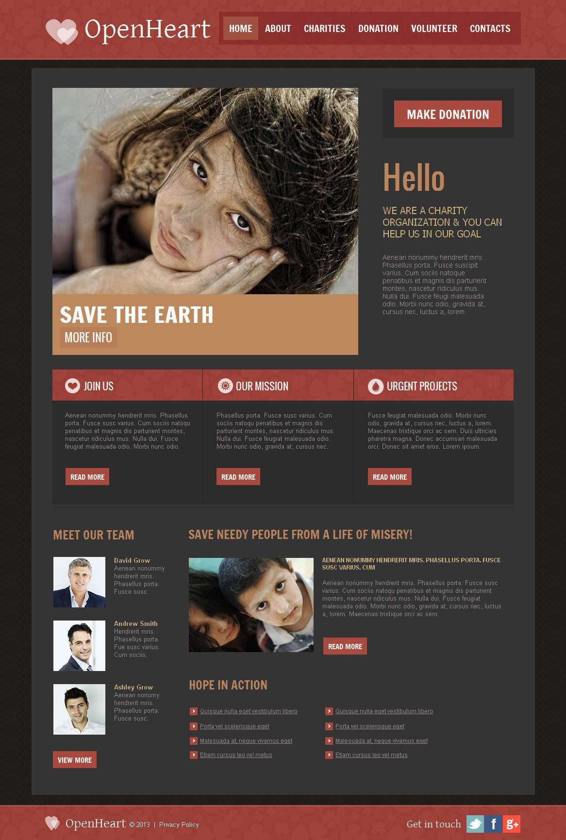 Modèle Moto CMS HTML Premium pour site d'association caritative #44455