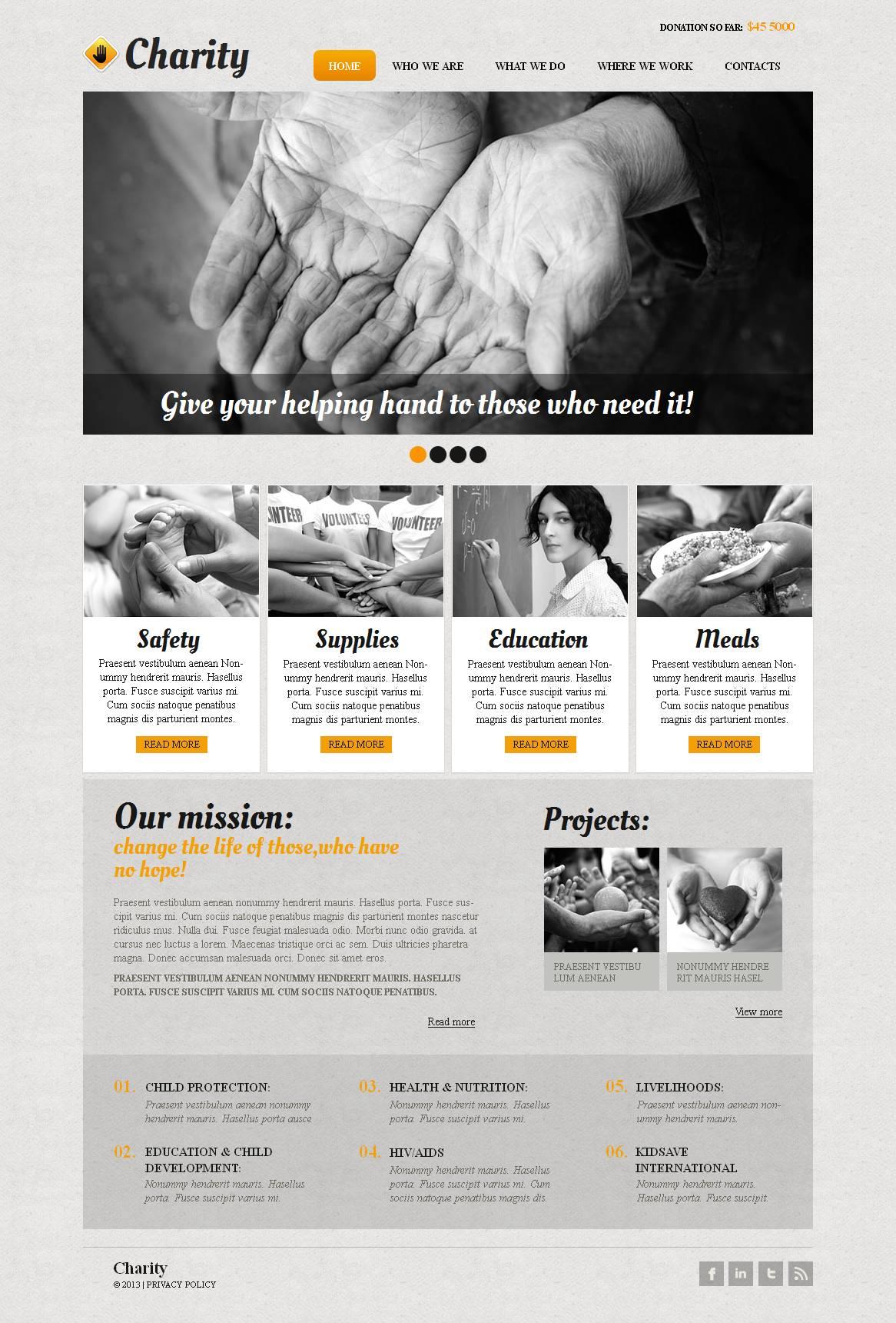 Modèle Moto CMS HTML Premium pour site d'association caritative #44456