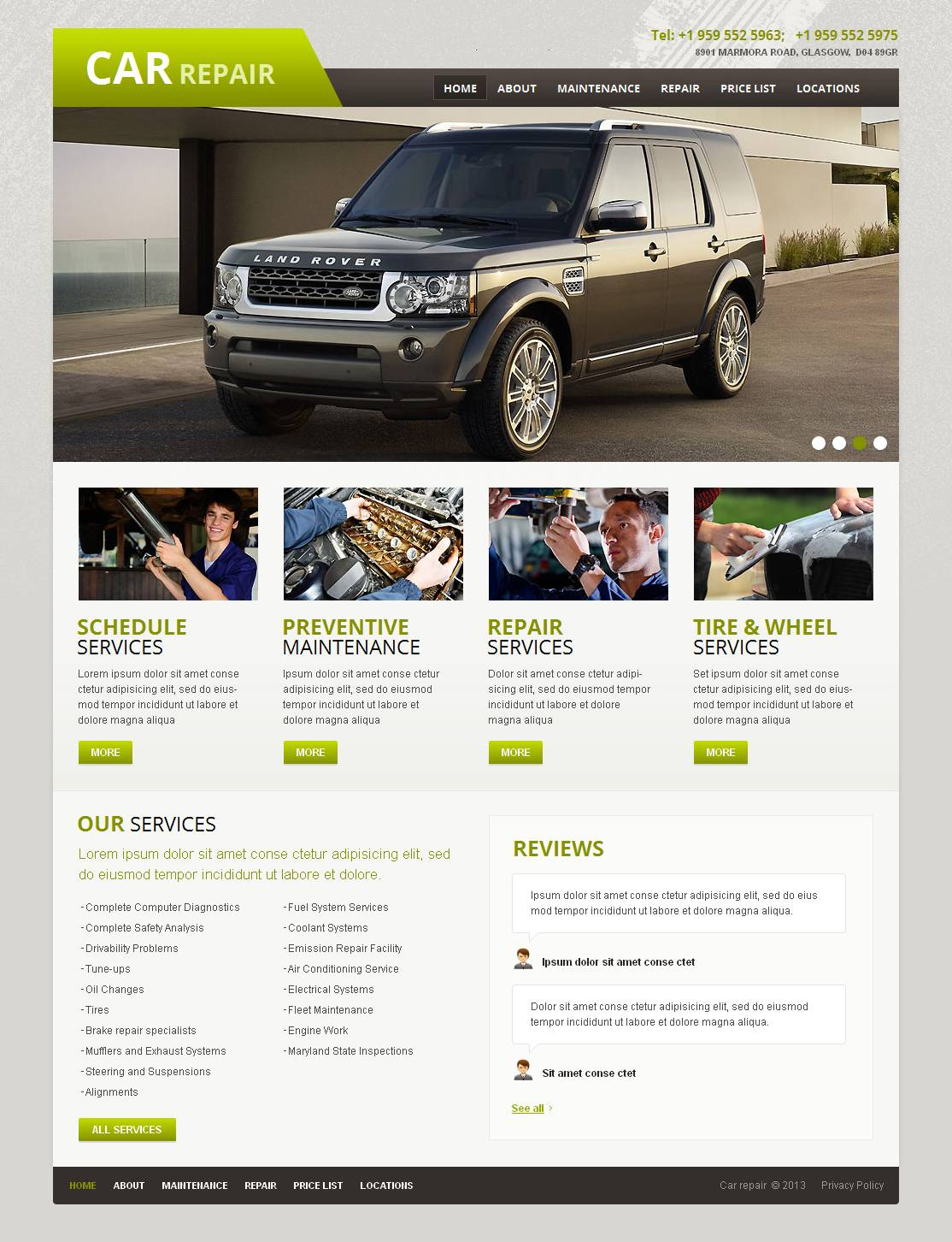 MotoCMS HTML шаблон №44464 на тему ремонт авто
