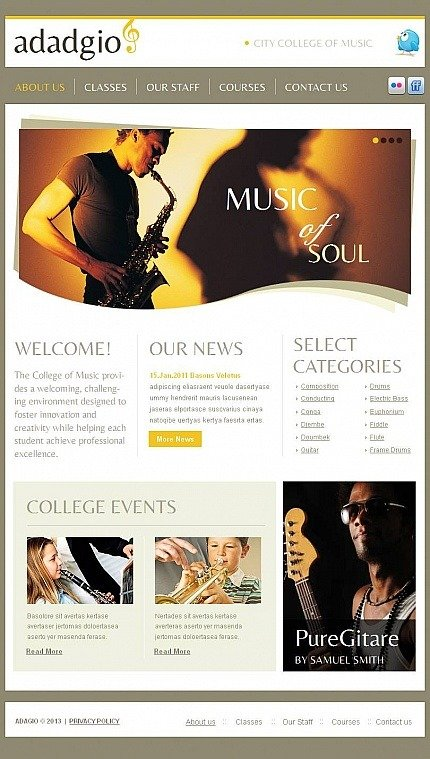 Music School Facebook HTML CMS Template Facebook Screenshot