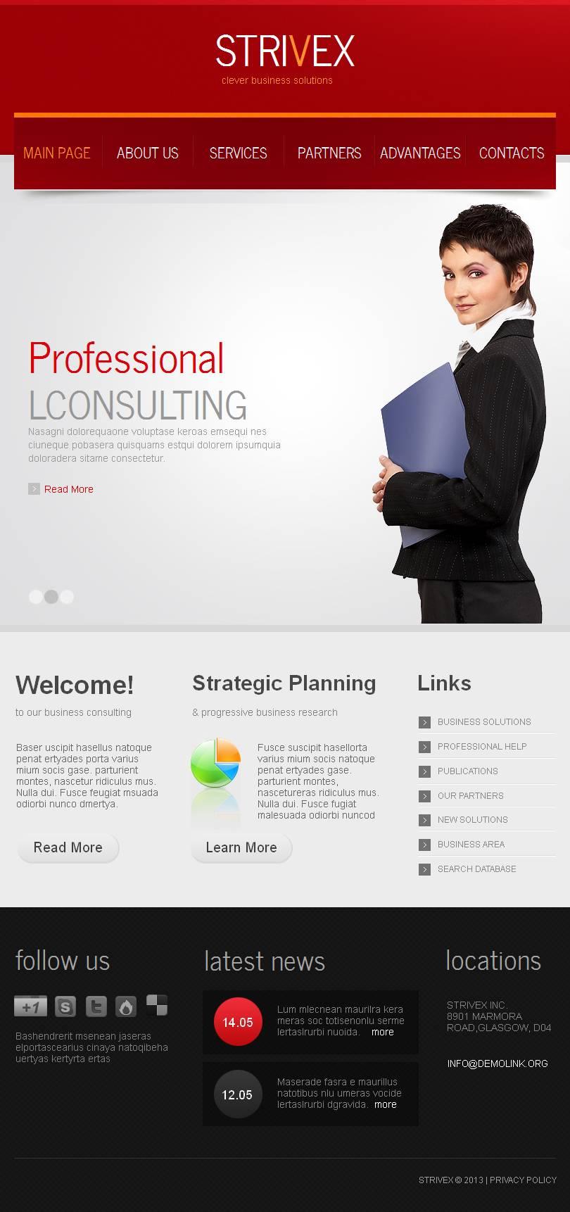 Plantilla Facebook HTML CMS #44489 para Sitio de Consultoría - captura de pantalla