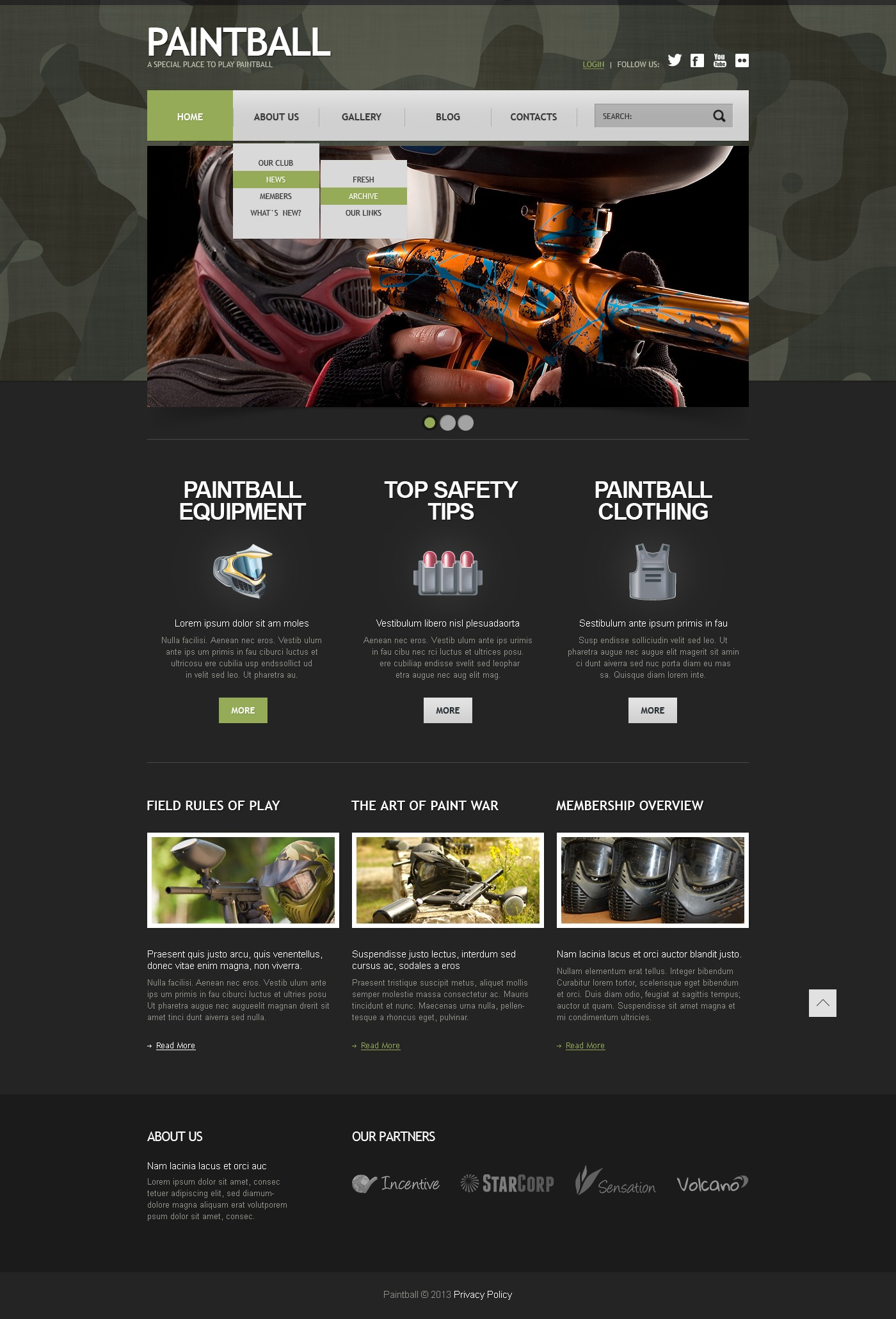 Plantilla Joomla #44413 para Sitio de Paintball
