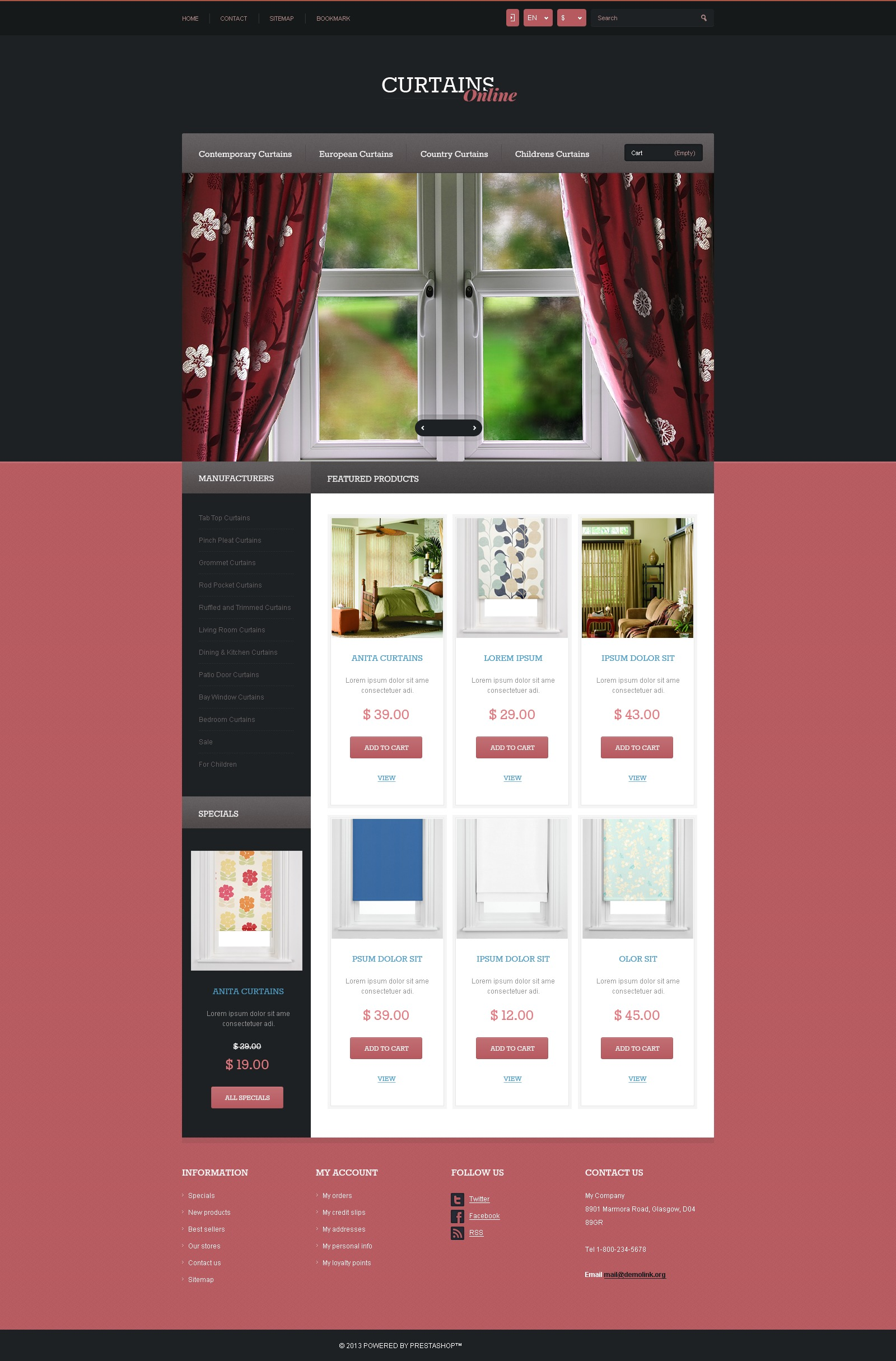 Responsive Curtains Store PrestaShop Theme