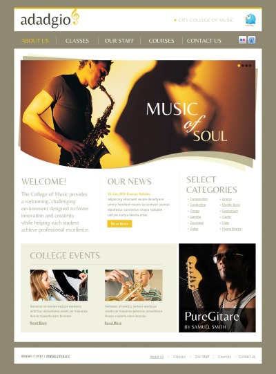 Music School Tema Moto CMS HTML