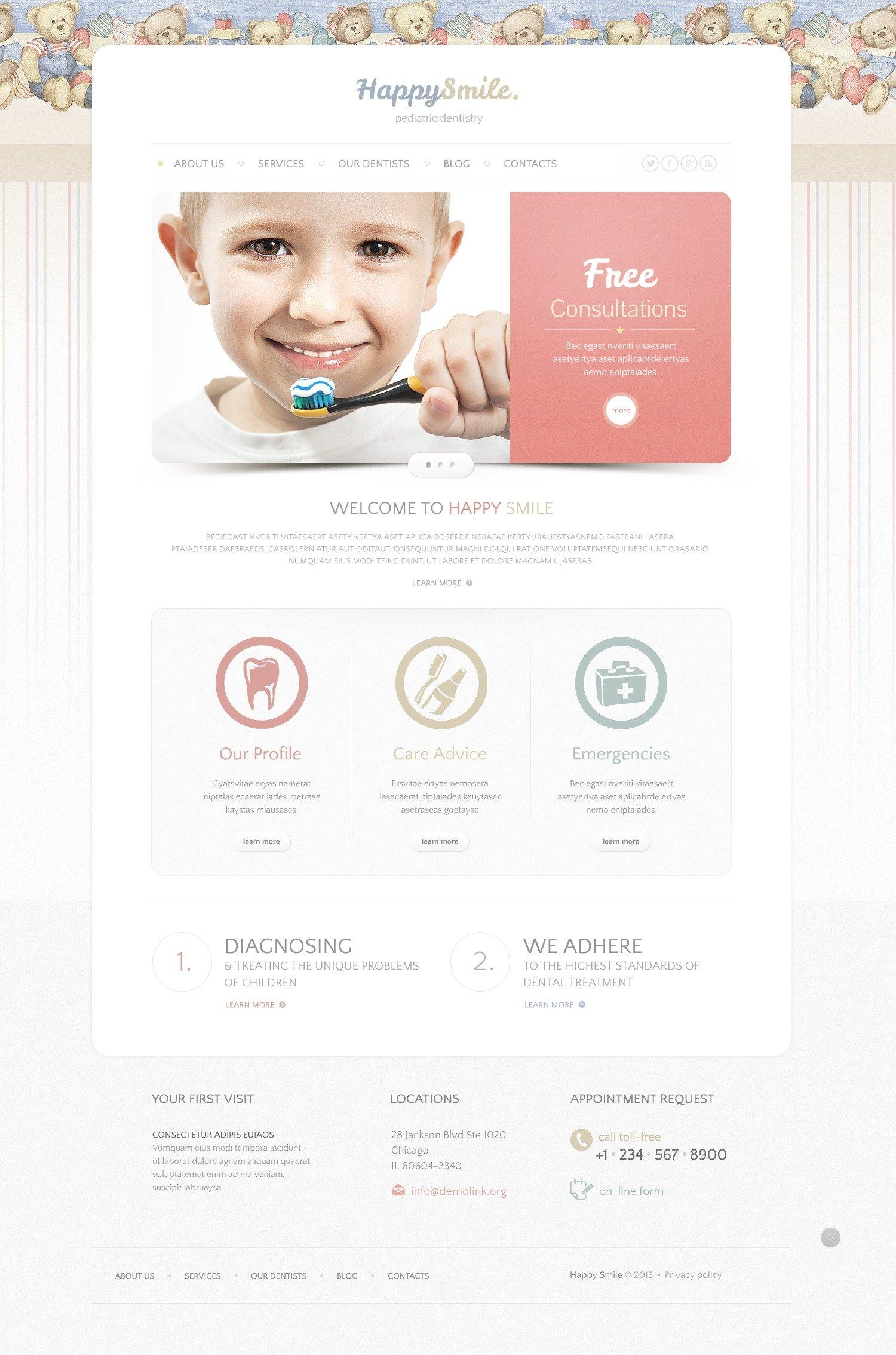 Template siti web per un sito di odontoiatria for Siti web di costruzione domestica