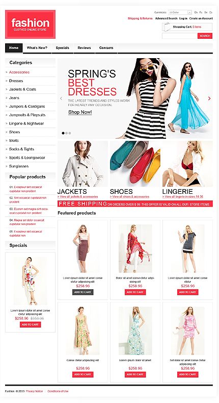 osCommerce Template 44579 Main Page Screenshot