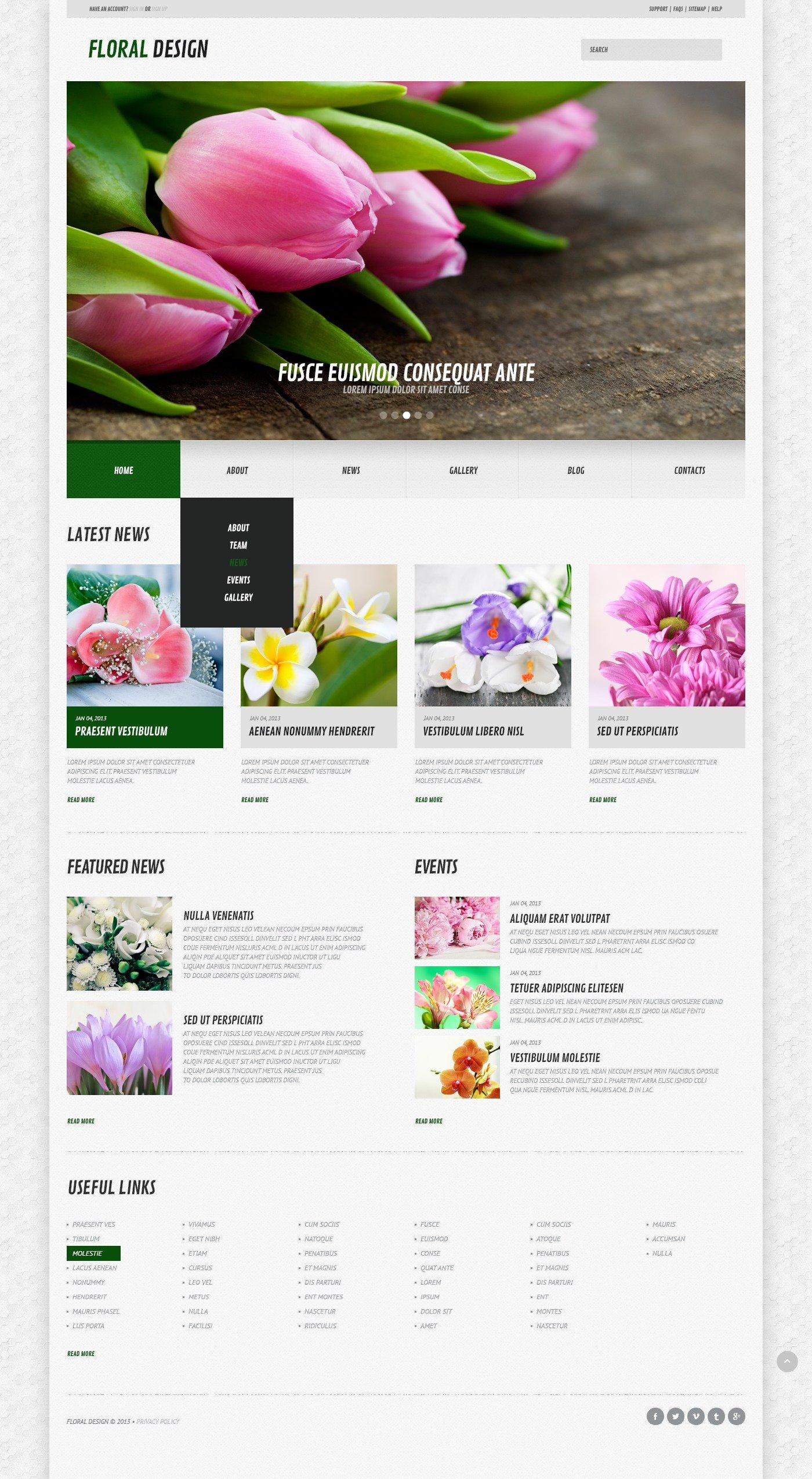 Адаптивний WordPress шаблон на тему квіти №44583
