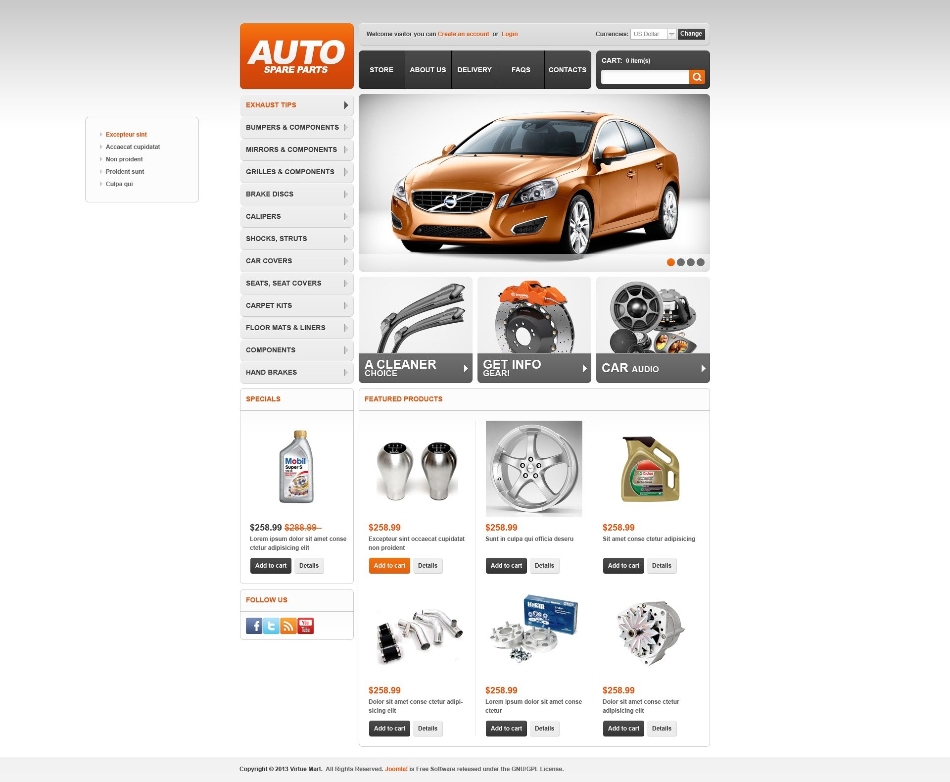 """Auto Spare Parts"" - VirtueMart шаблон №44585"