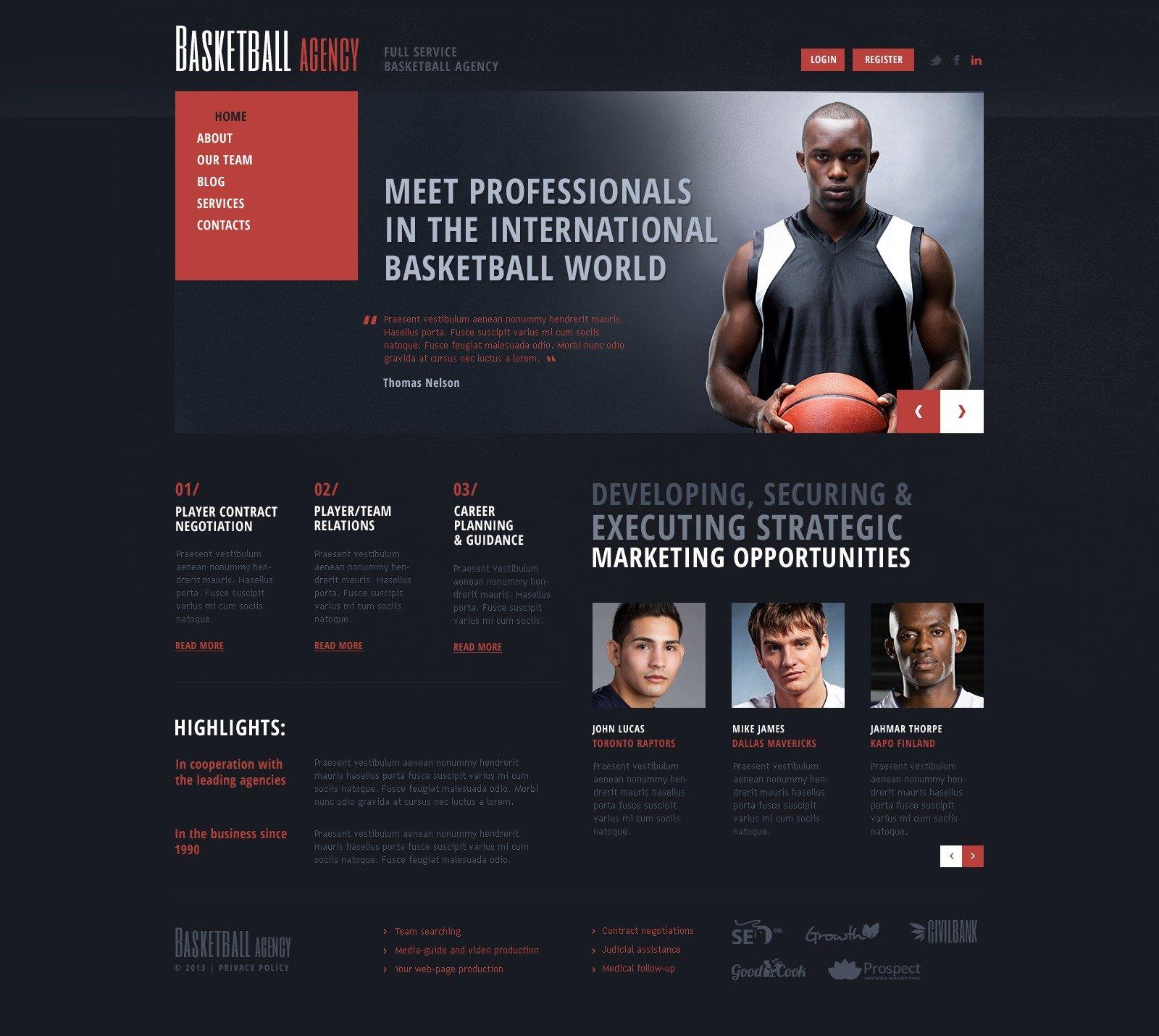Bootstrap Joomla šablona na téma Basketbal #44591 - screenshot