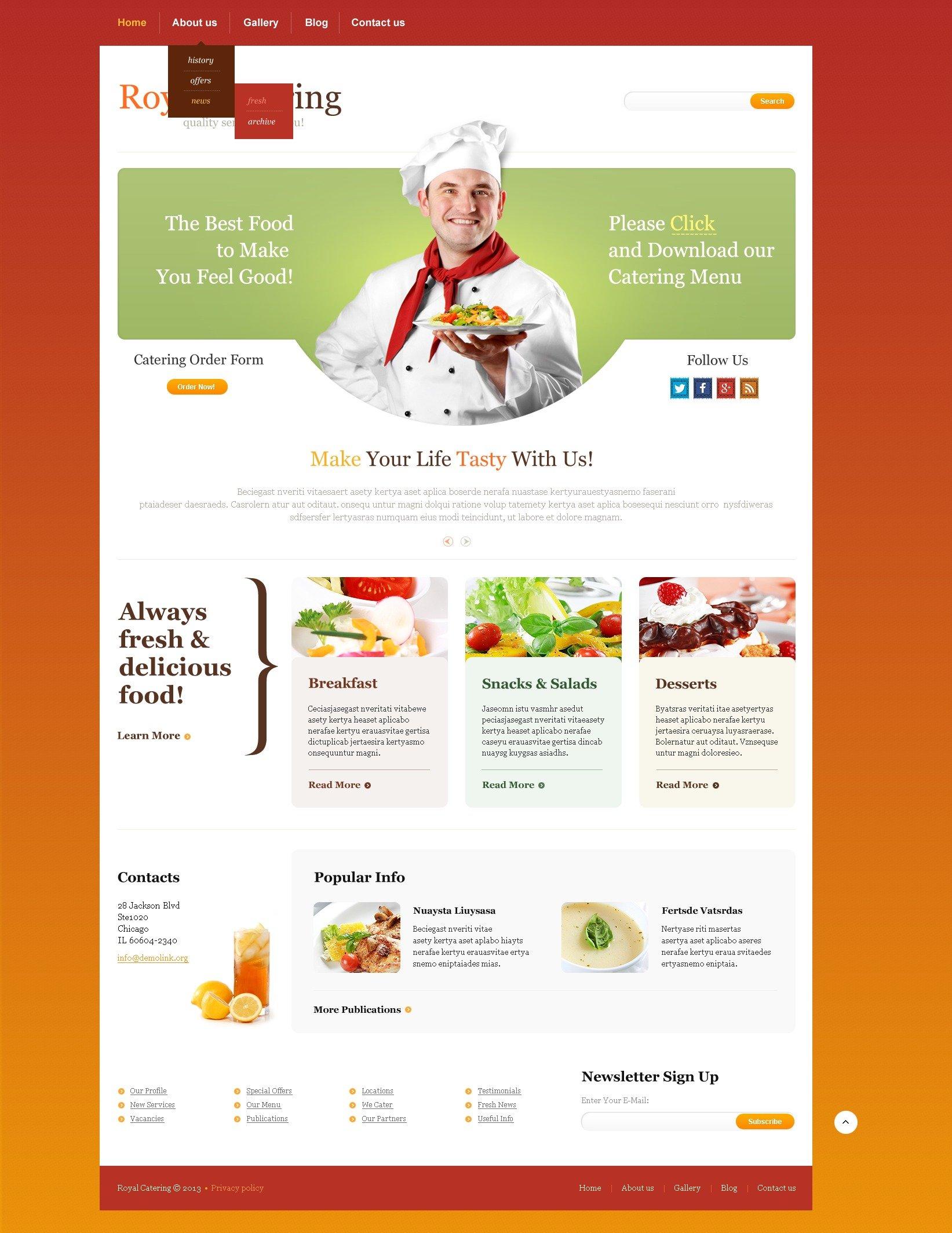 Catering Responsive Website Template #44572