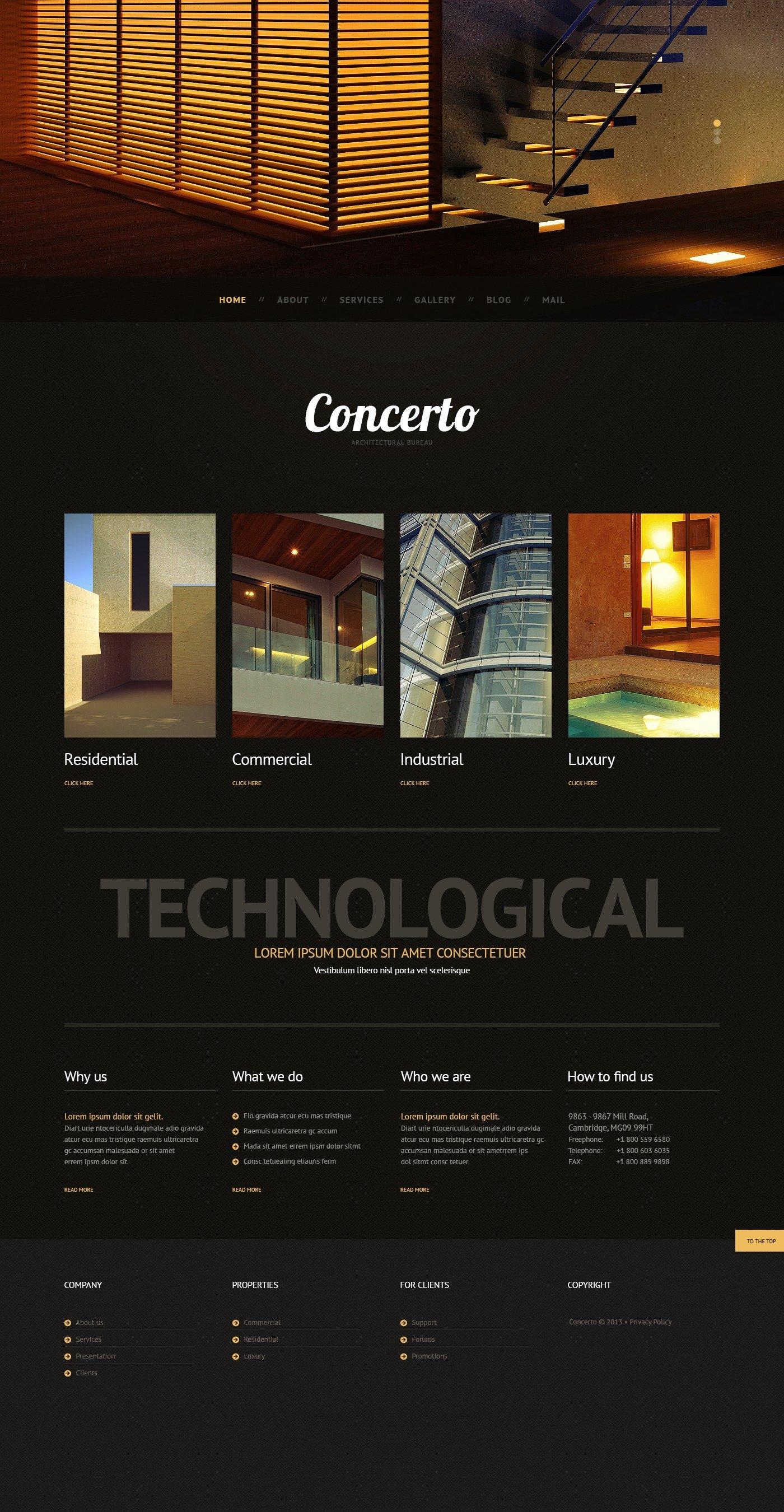 Dark Architecture Tema WordPress №44549 - captura de tela