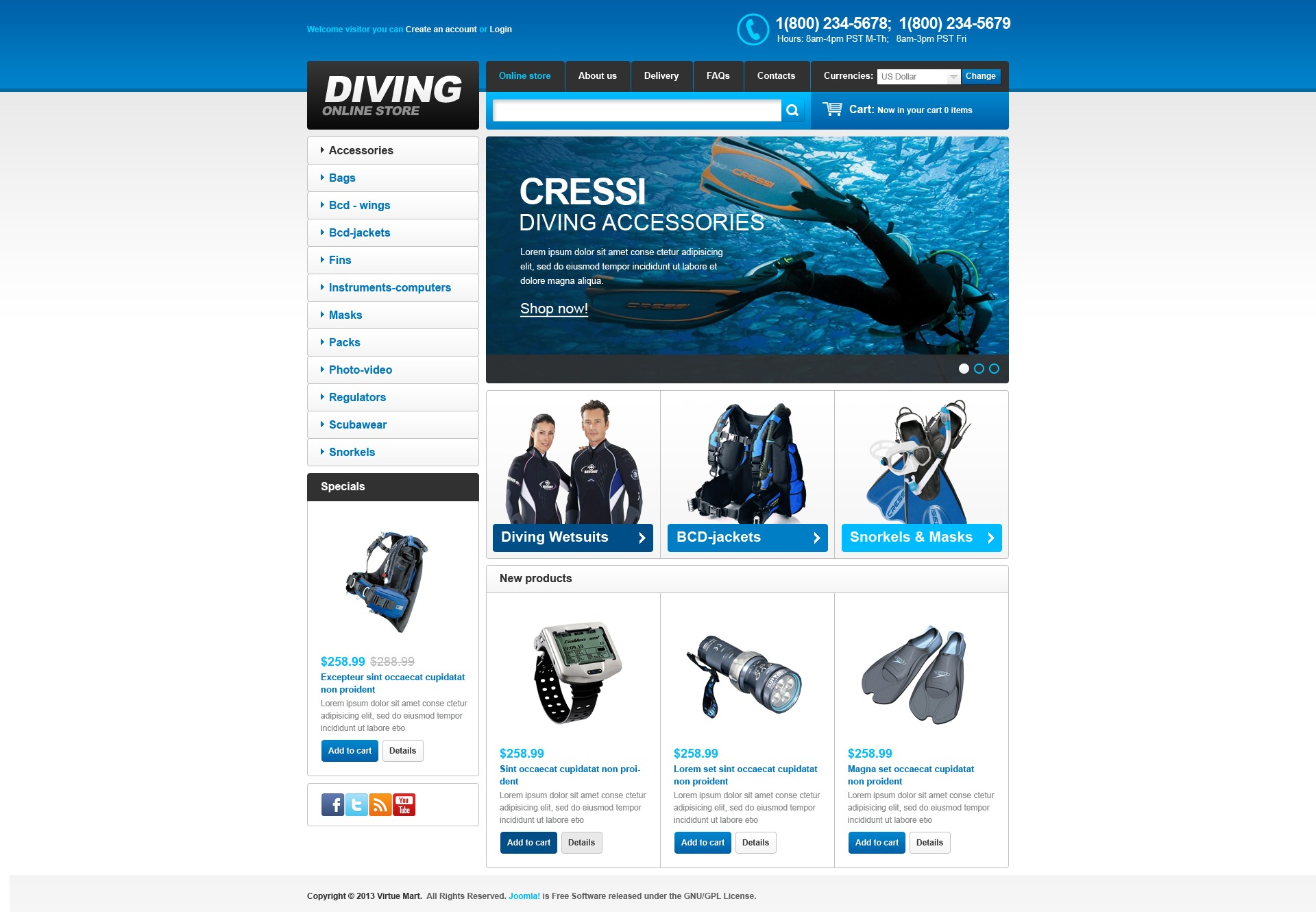 """Online Diving Store"" VirtueMart Template №44584"