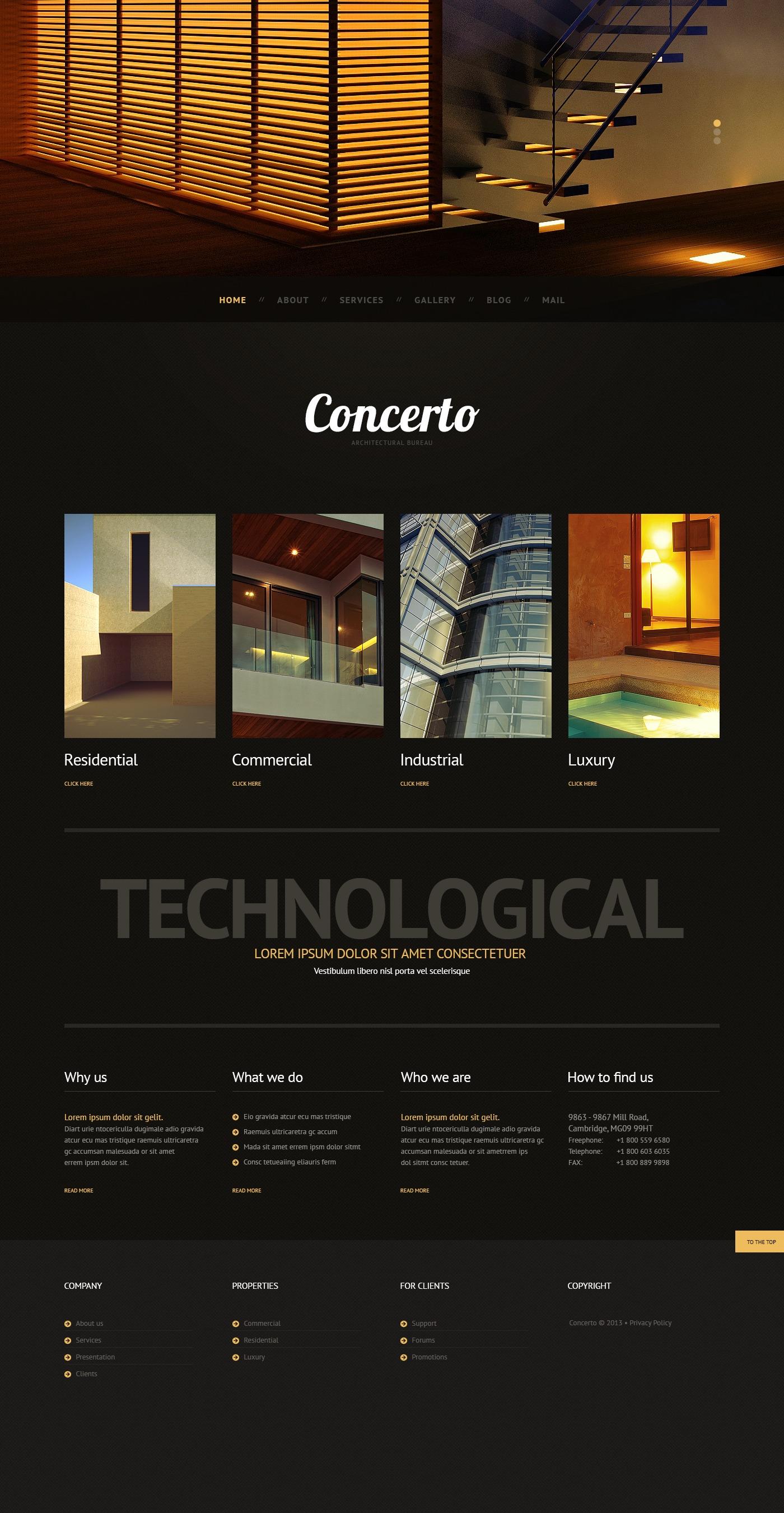 Responsivt Dark Architecture WordPress-tema #44549 - skärmbild